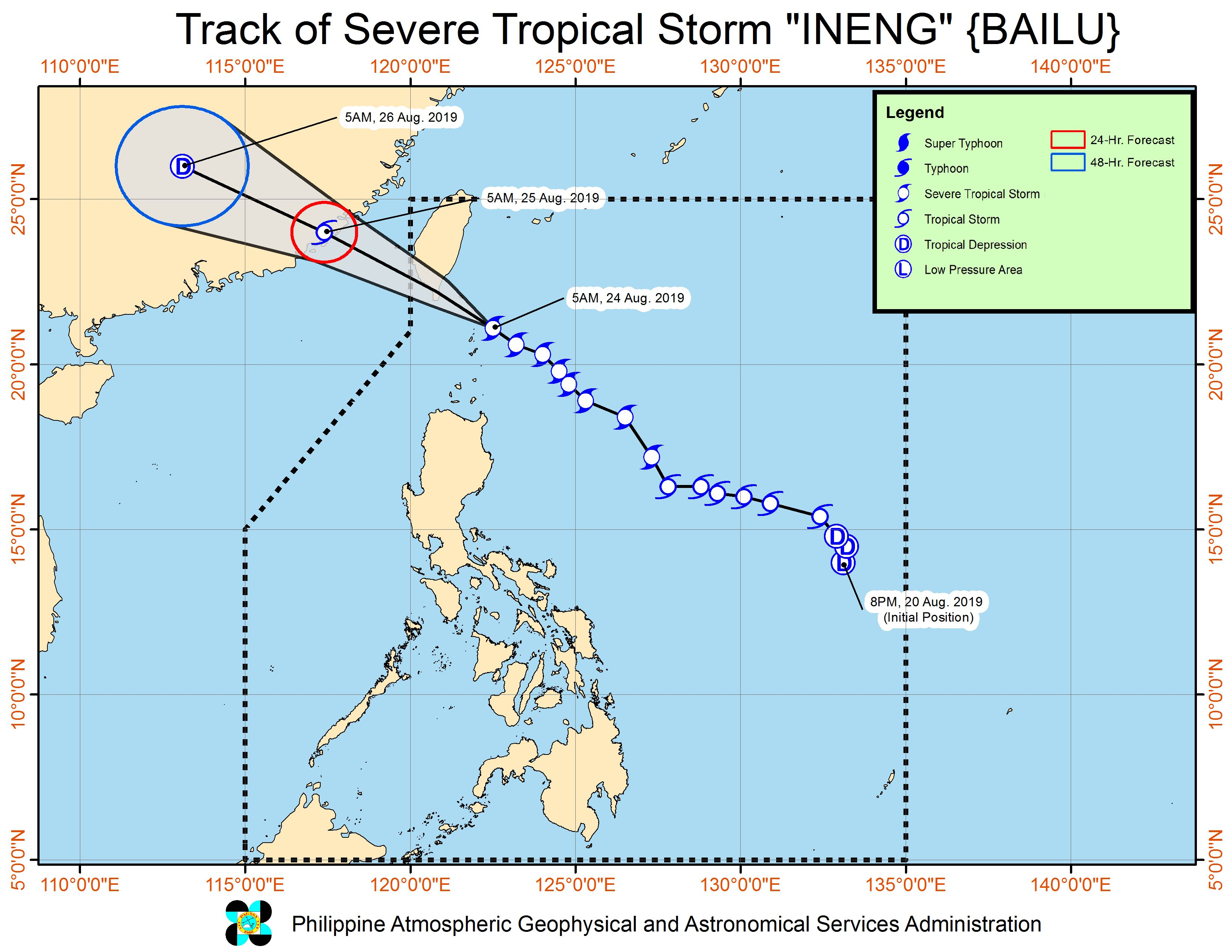 Forecast track of Severe Tropical Storm Ineng (Bailu) as of August 24, 2019, 8 am. Image from PAGASA