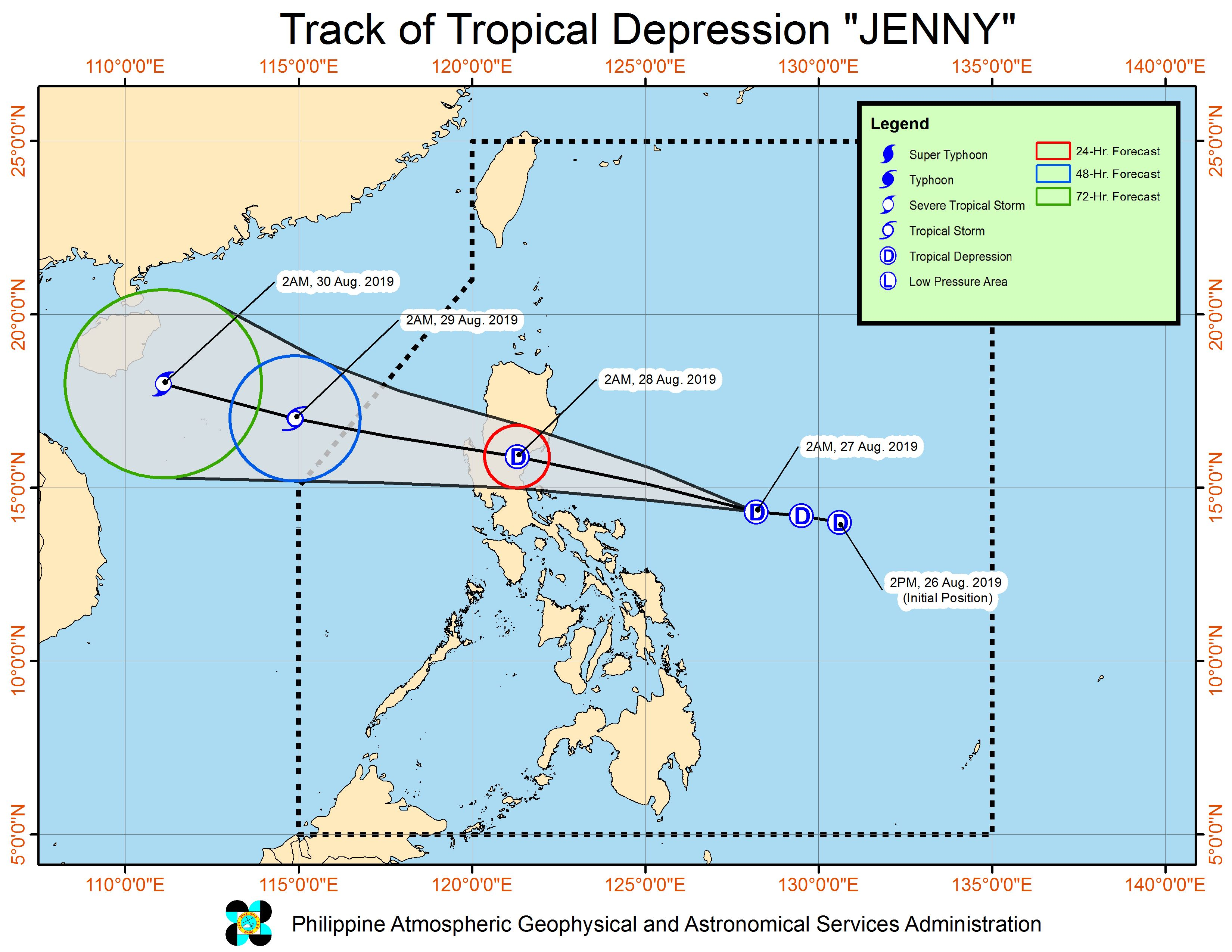 Forecast track of Tropical Depression Jenny as of August 27, 2019, 5 am. Image from PAGASA
