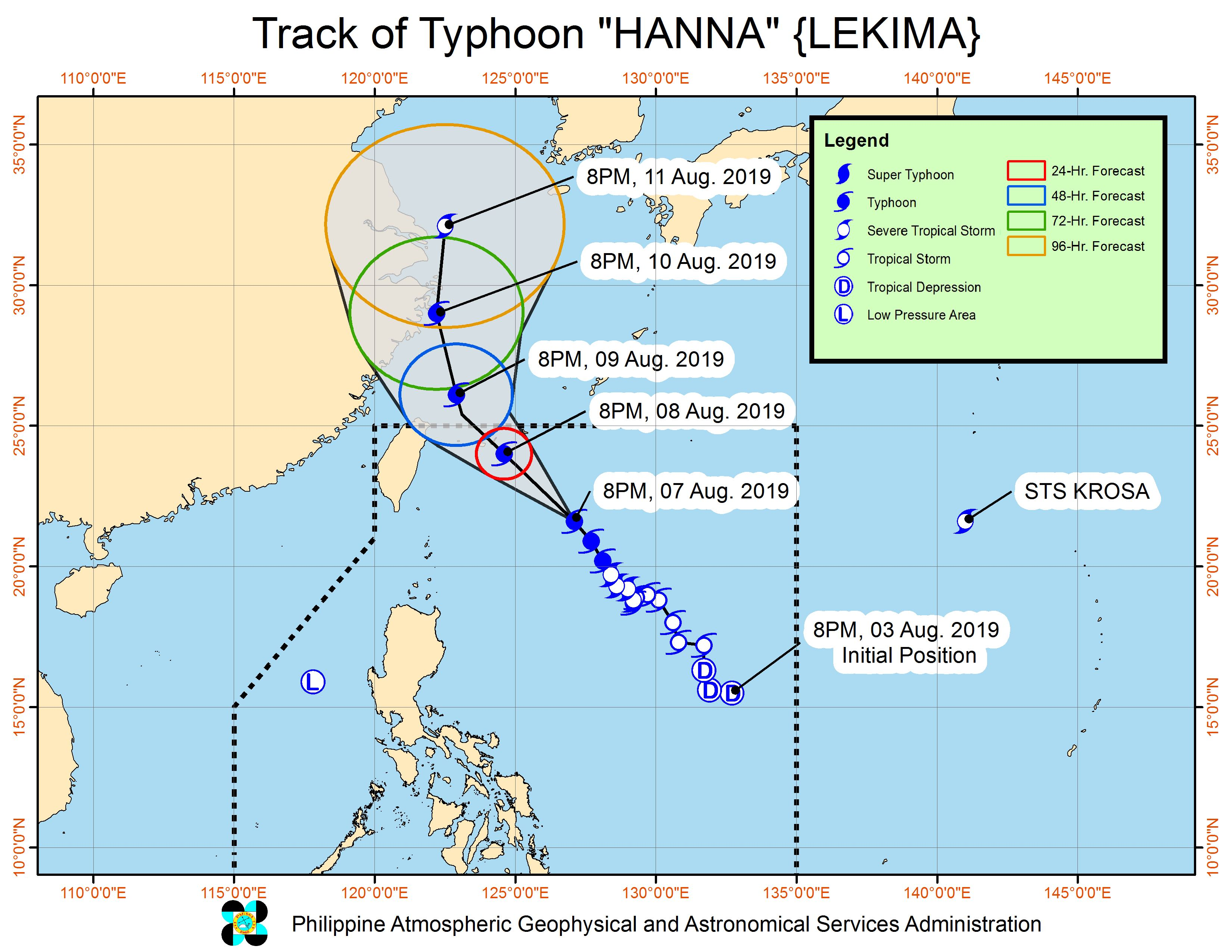 Forecast track of Typhoon Hanna (Lekima) as of August 7, 2019, 11 pm. Image from PAGASA