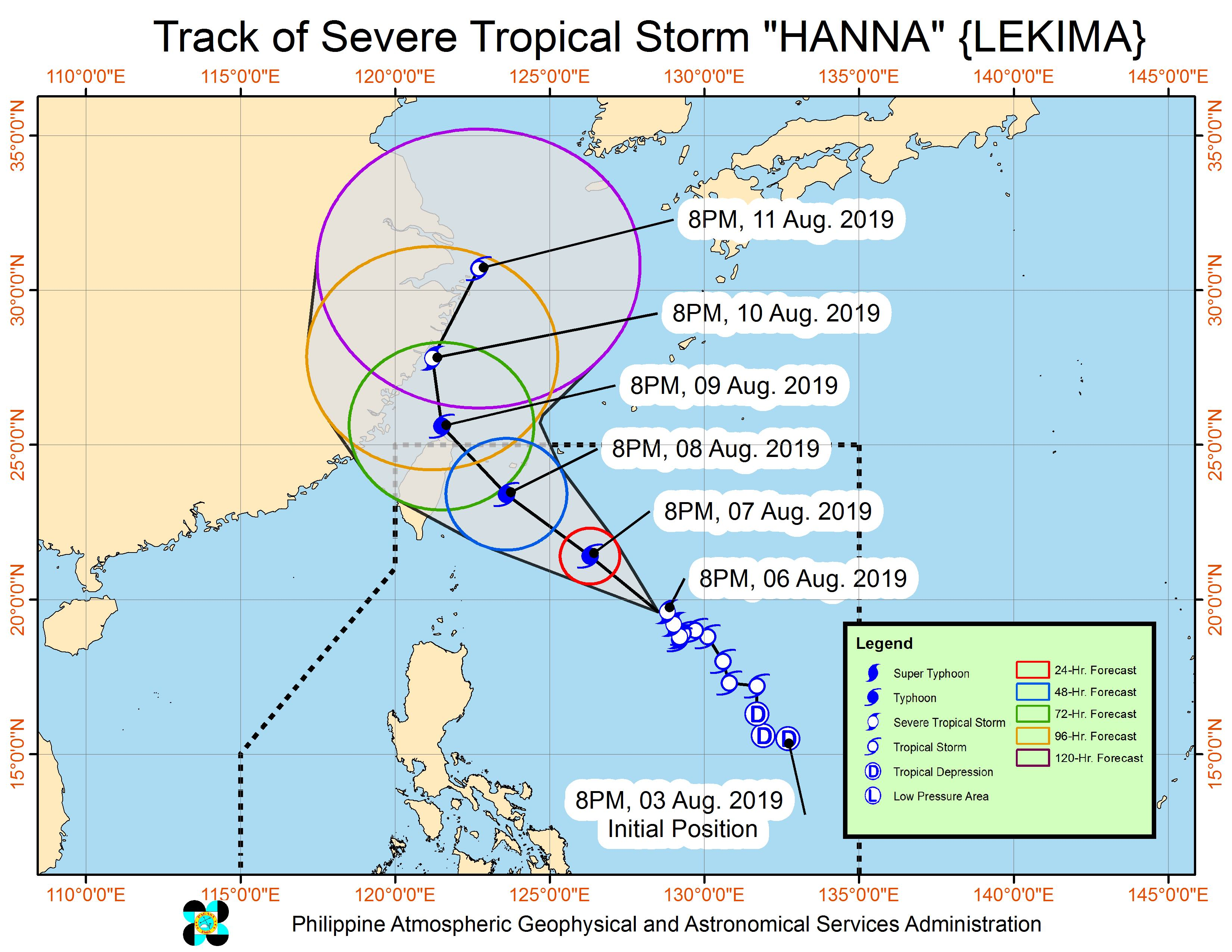 Forecast track of Severe Tropical Storm Hanna (Lekima) as of August 6, 2019, 11 pm. Image from PAGASA