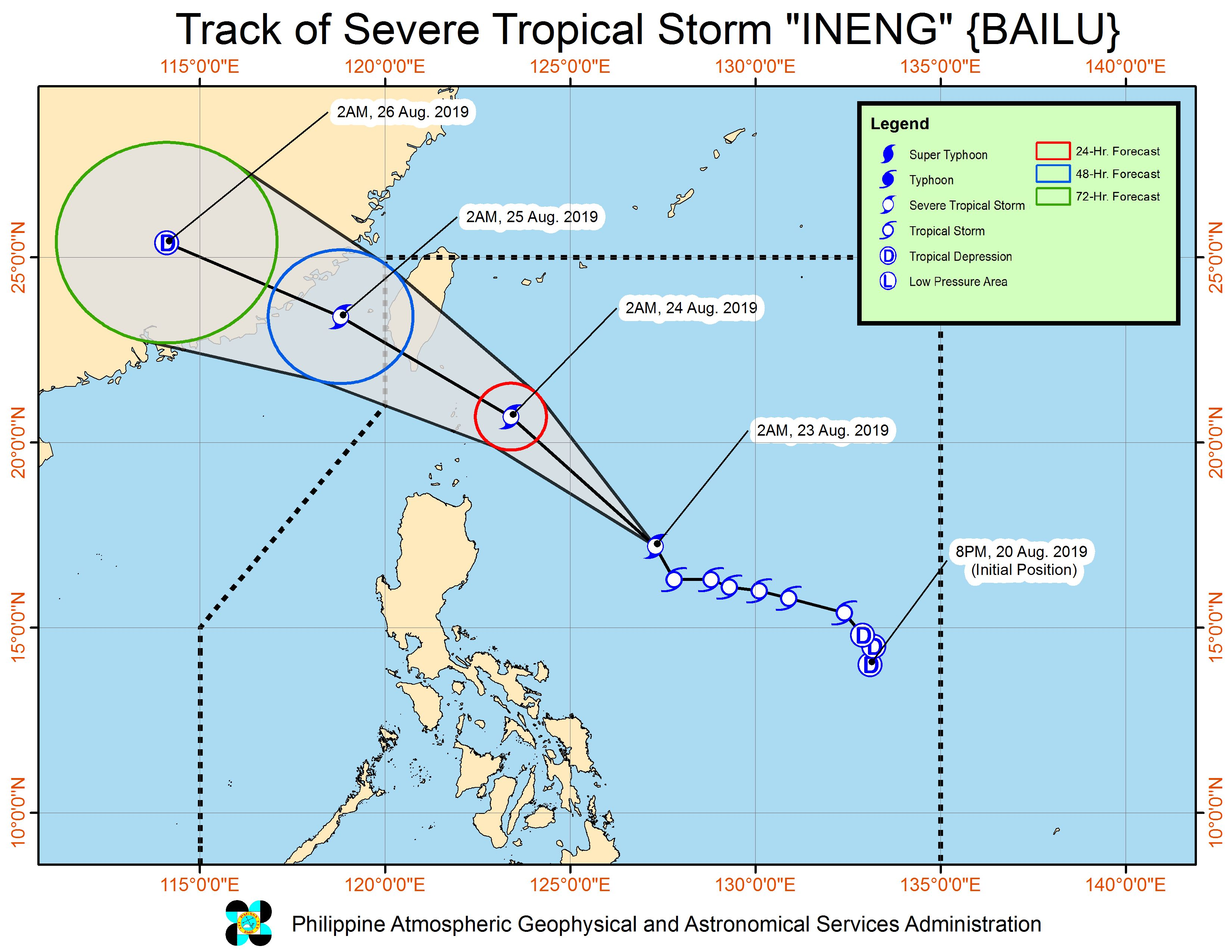 Forecast track of Severe Tropical Storm Ineng (Bailu) as of August 23, 2019, 5 am. Image from PAGASA