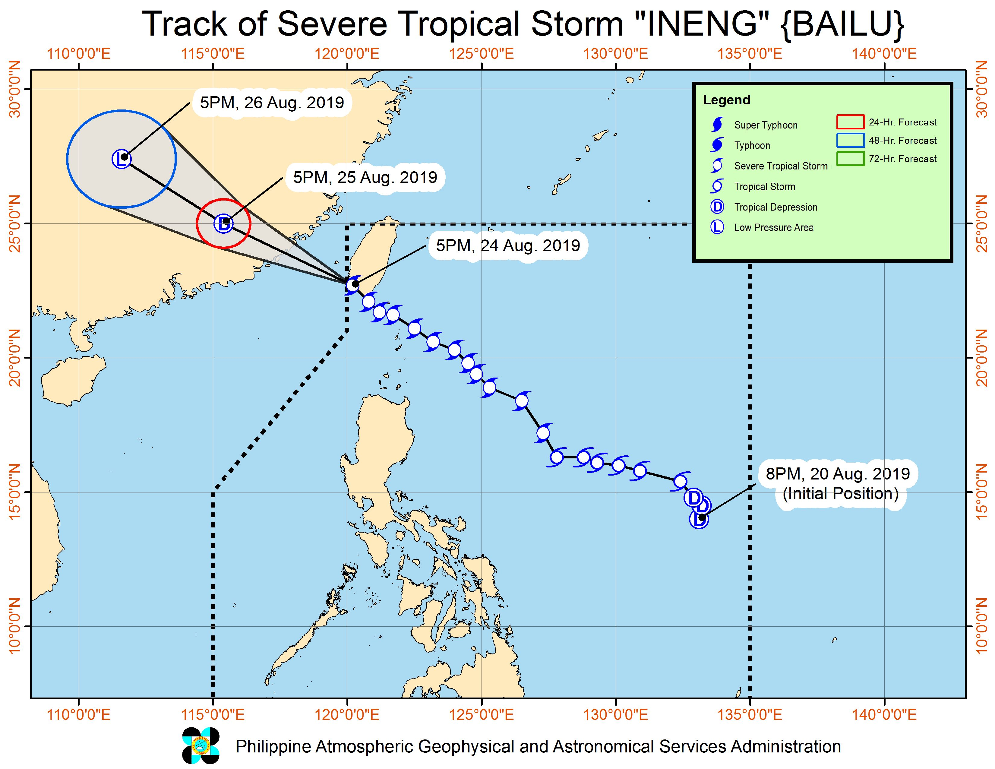 Forecast track of Severe Tropical Storm Ineng (Bailu) as of August 24, 2019, 8 pm. Image from PAGASA