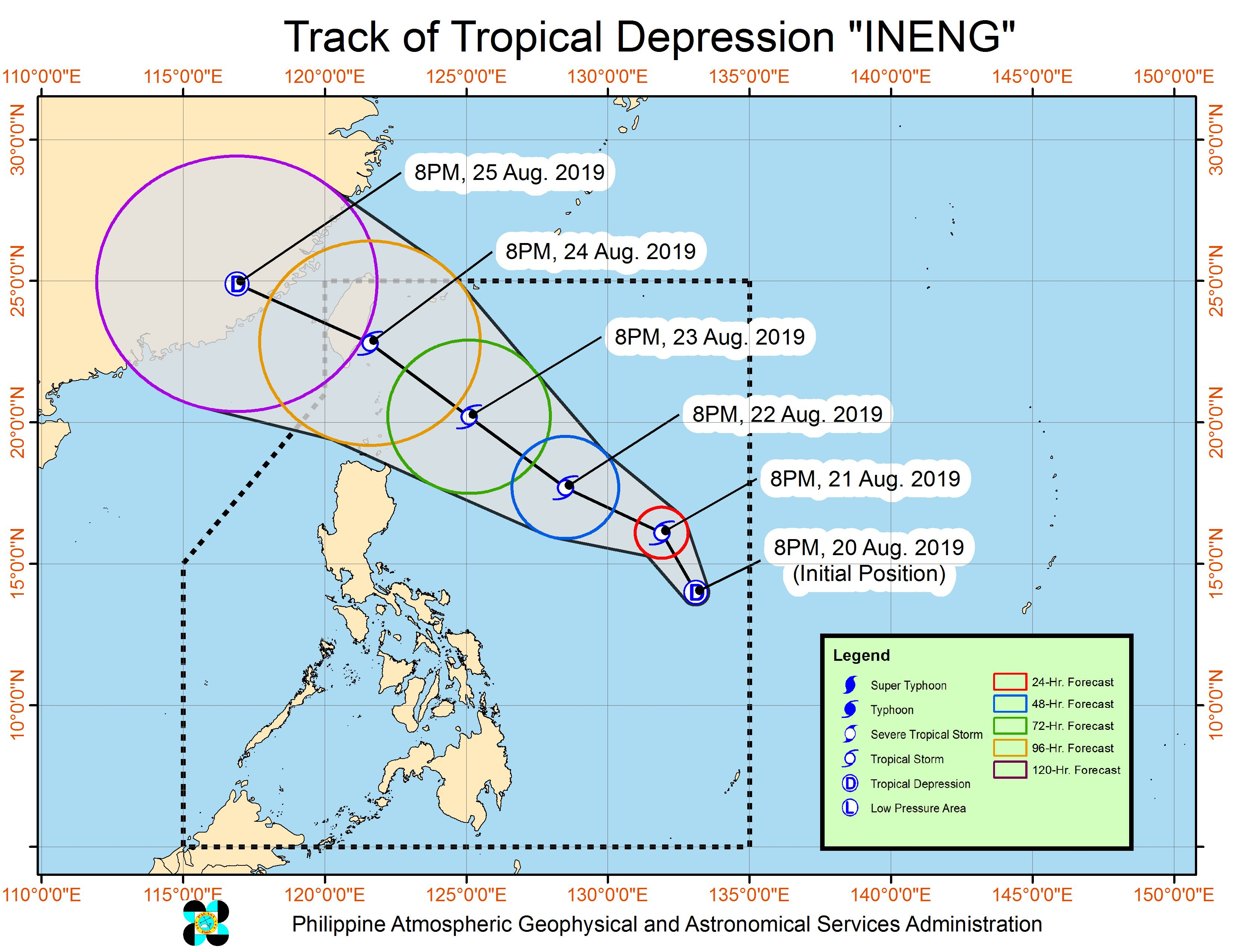 Forecast track of Tropical Depression Ineng as of August 20, 2019, 11 pm. Image from PAGASA