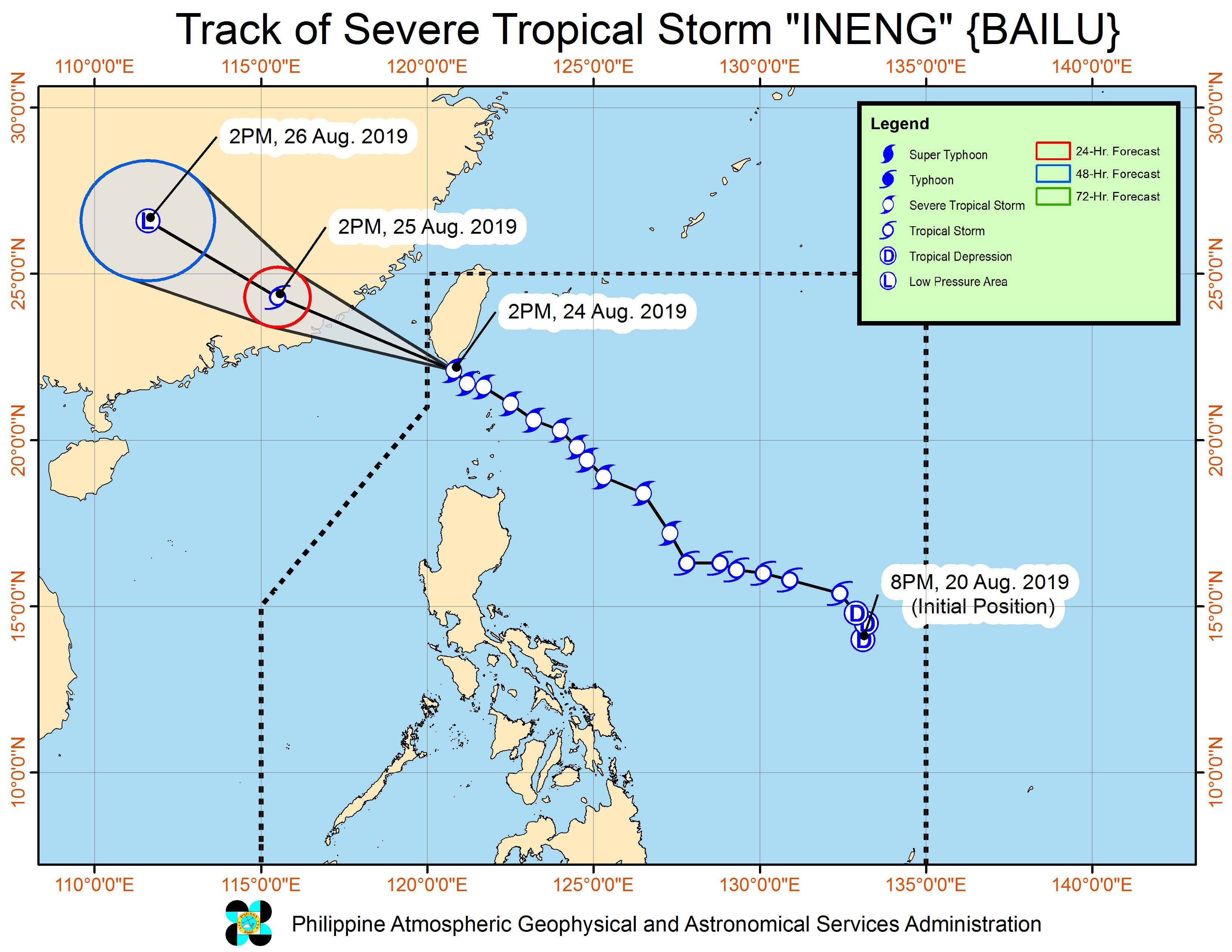 Forecast track of Severe Tropical Storm Ineng (Bailu) as of August 24, 2019, 5 pm. Image from PAGASA