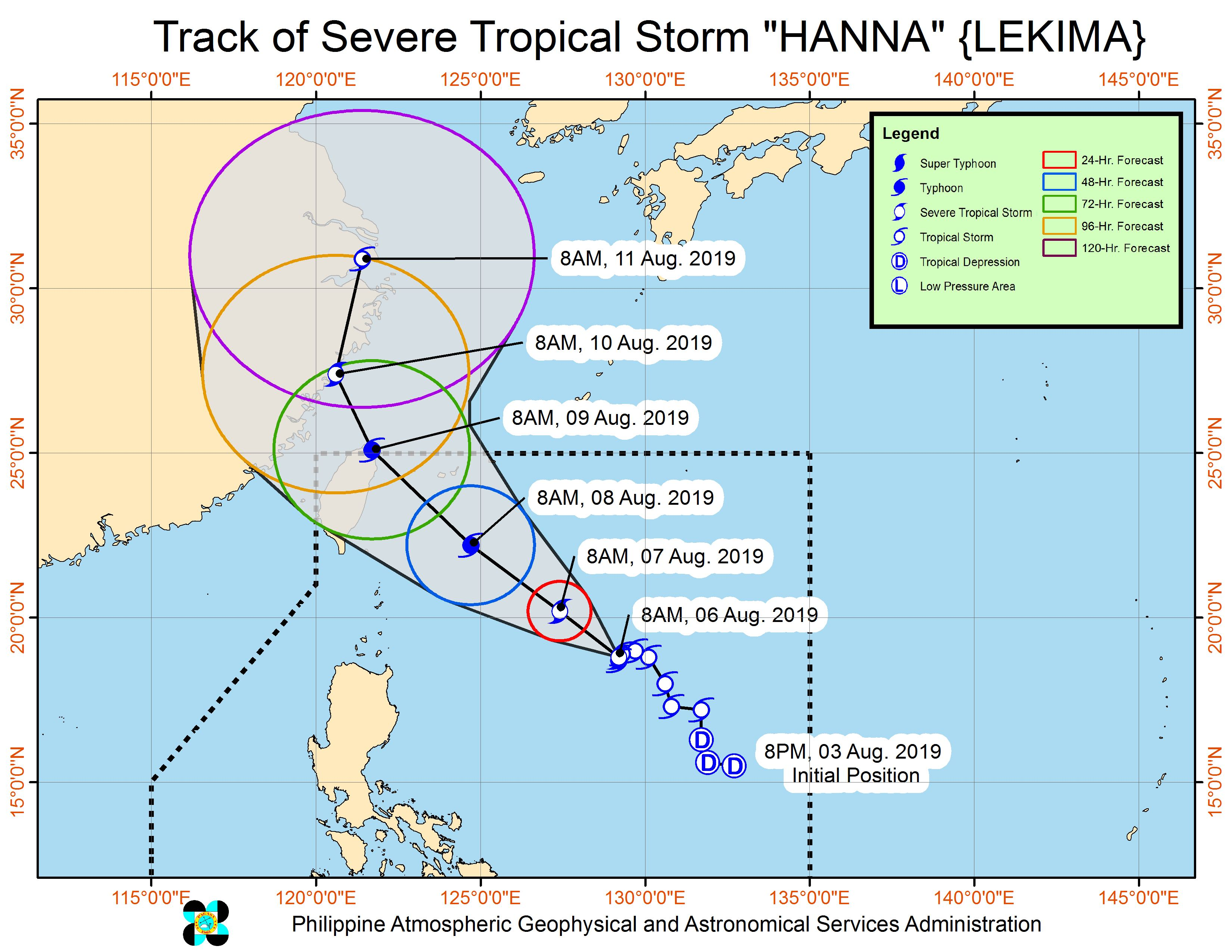 Forecast track of Severe Tropical Storm Hanna (Lekima) as of August 6, 2019, 11 am. Image from PAGASA