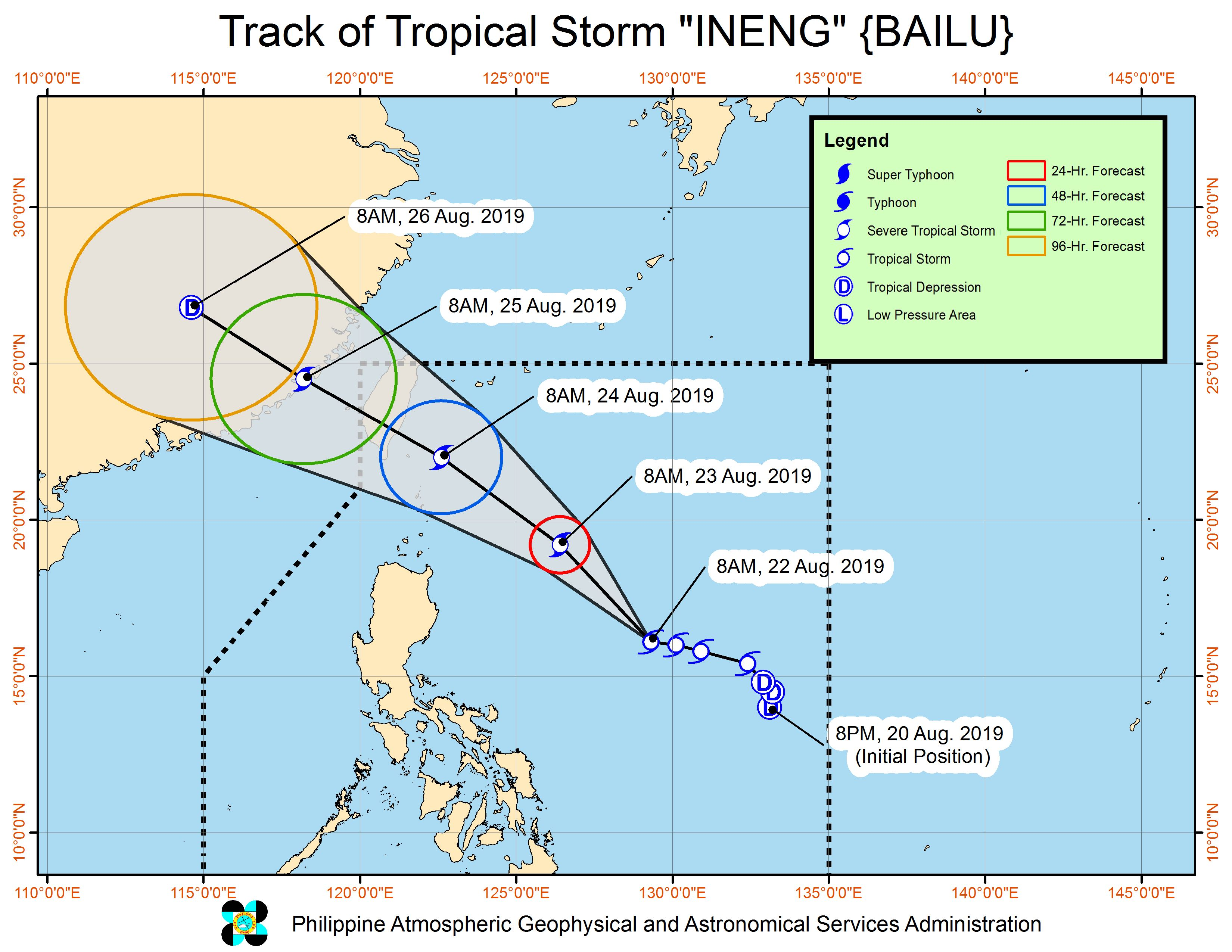 Forecast track of Tropical Storm Ineng (Bailu) as of August 22, 2019, 11 am. Image from PAGASA