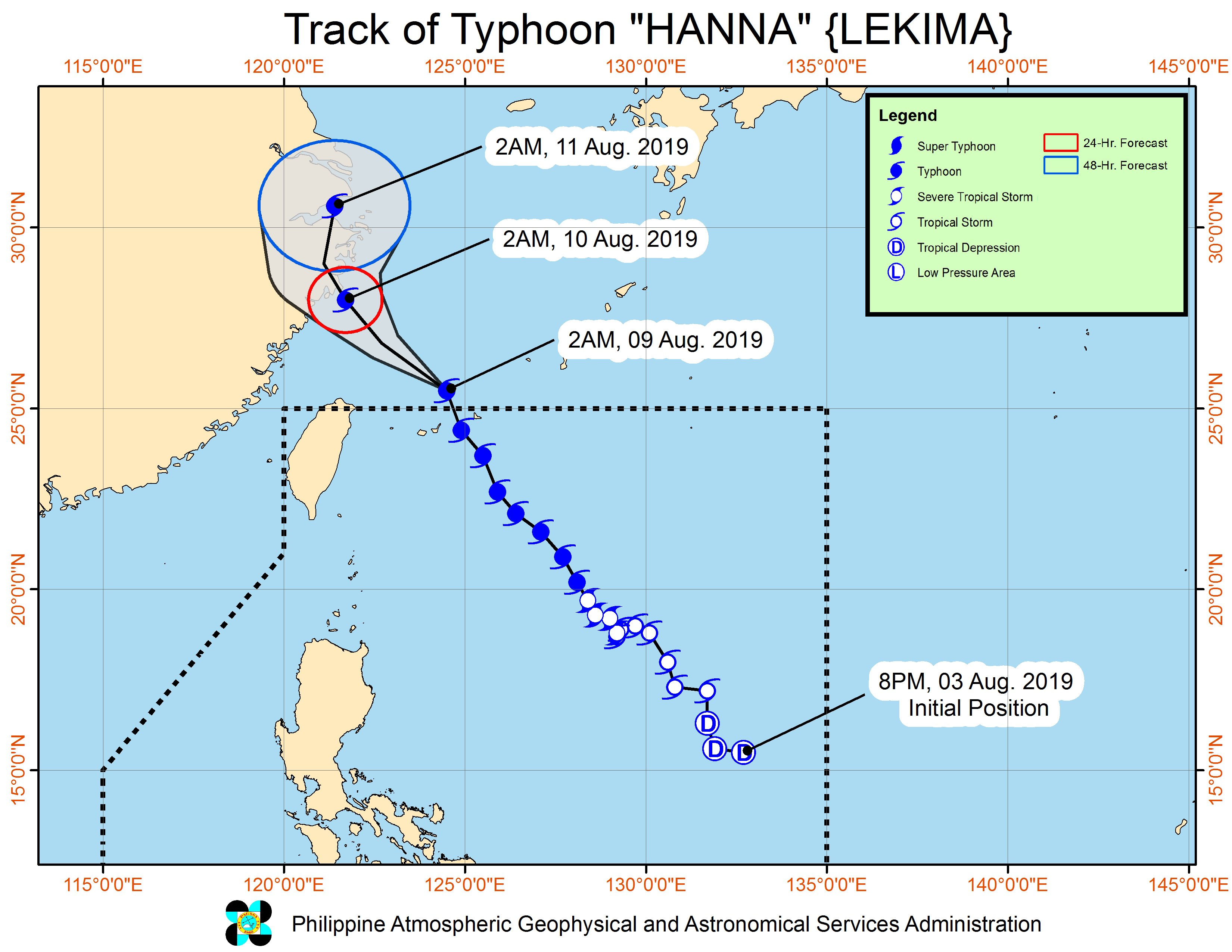 Forecast track of Typhoon Hanna (Lekima) as of August 9, 2019, 5 am. Image from PAGASA