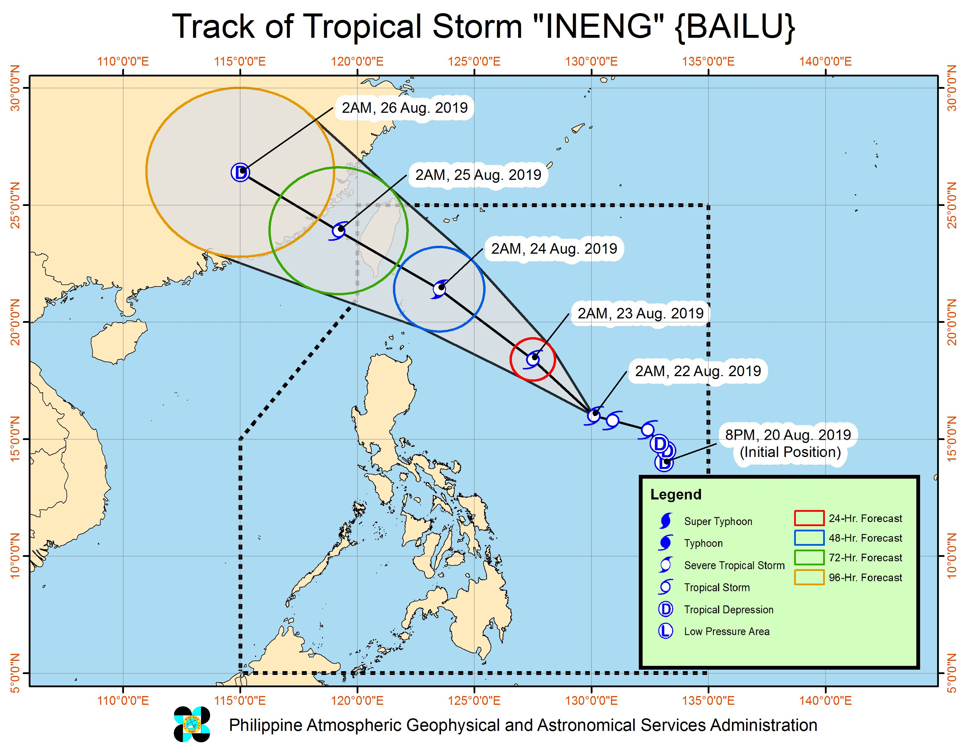 Forecast track of Tropical Storm Ineng (Bailu) as of August 22, 2019, 5 am. Image from PAGASA