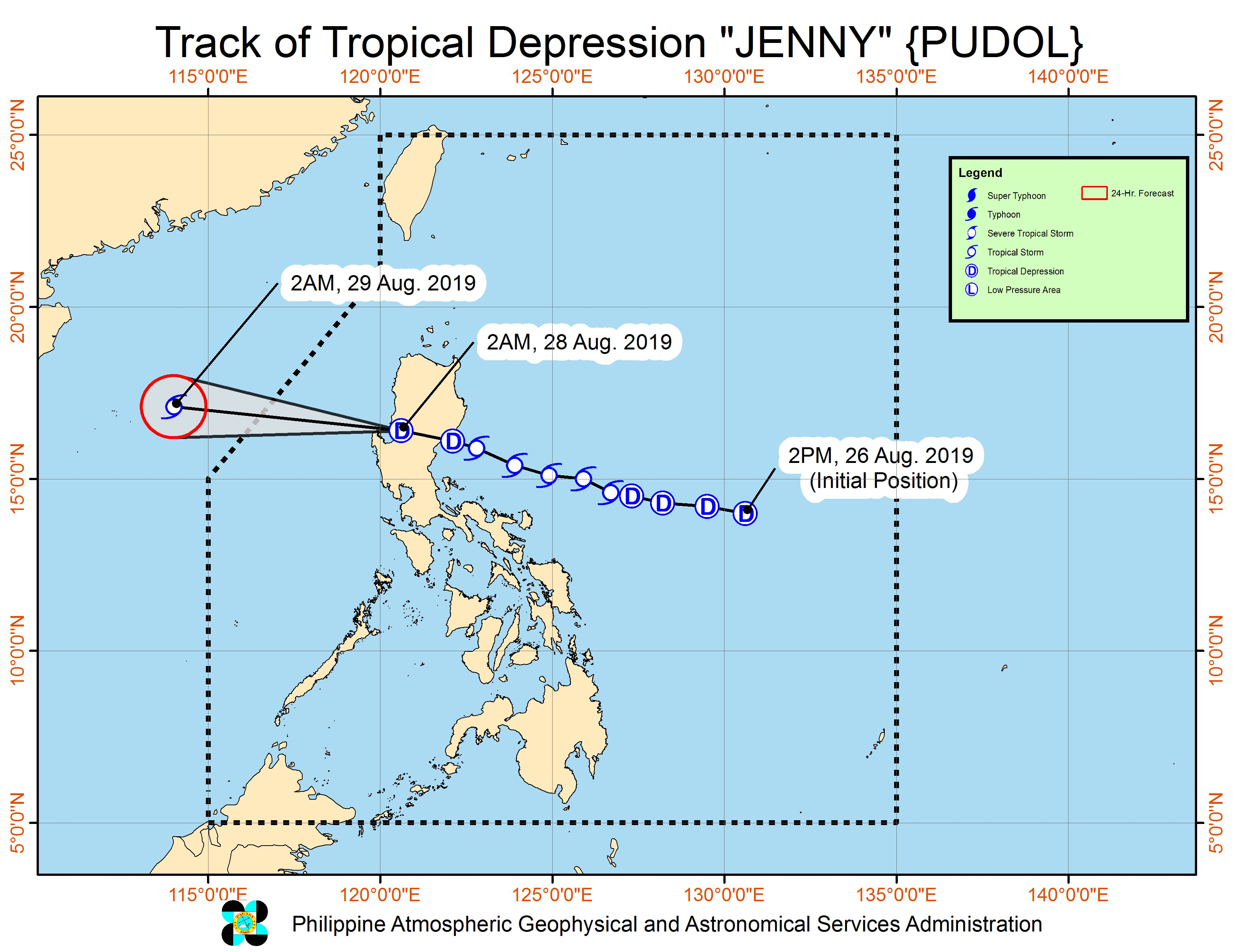 Forecast track of Tropical Depression Jenny (Podul) as of August 28, 2019, 5 am. Image from PAGASA