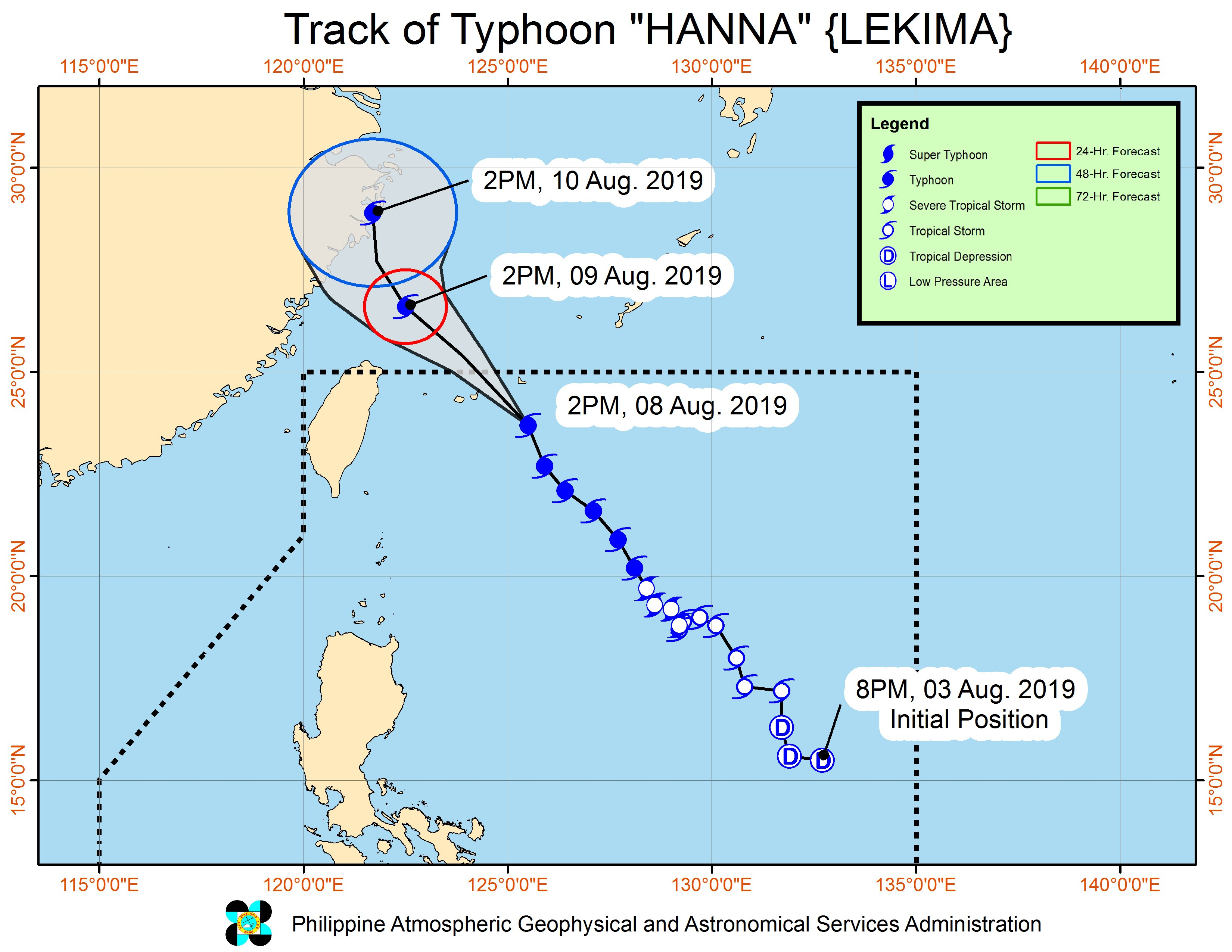 Forecast track of Typhoon Hanna (Lekima) as of August 8, 2019, 5 pm. Image from PAGASA