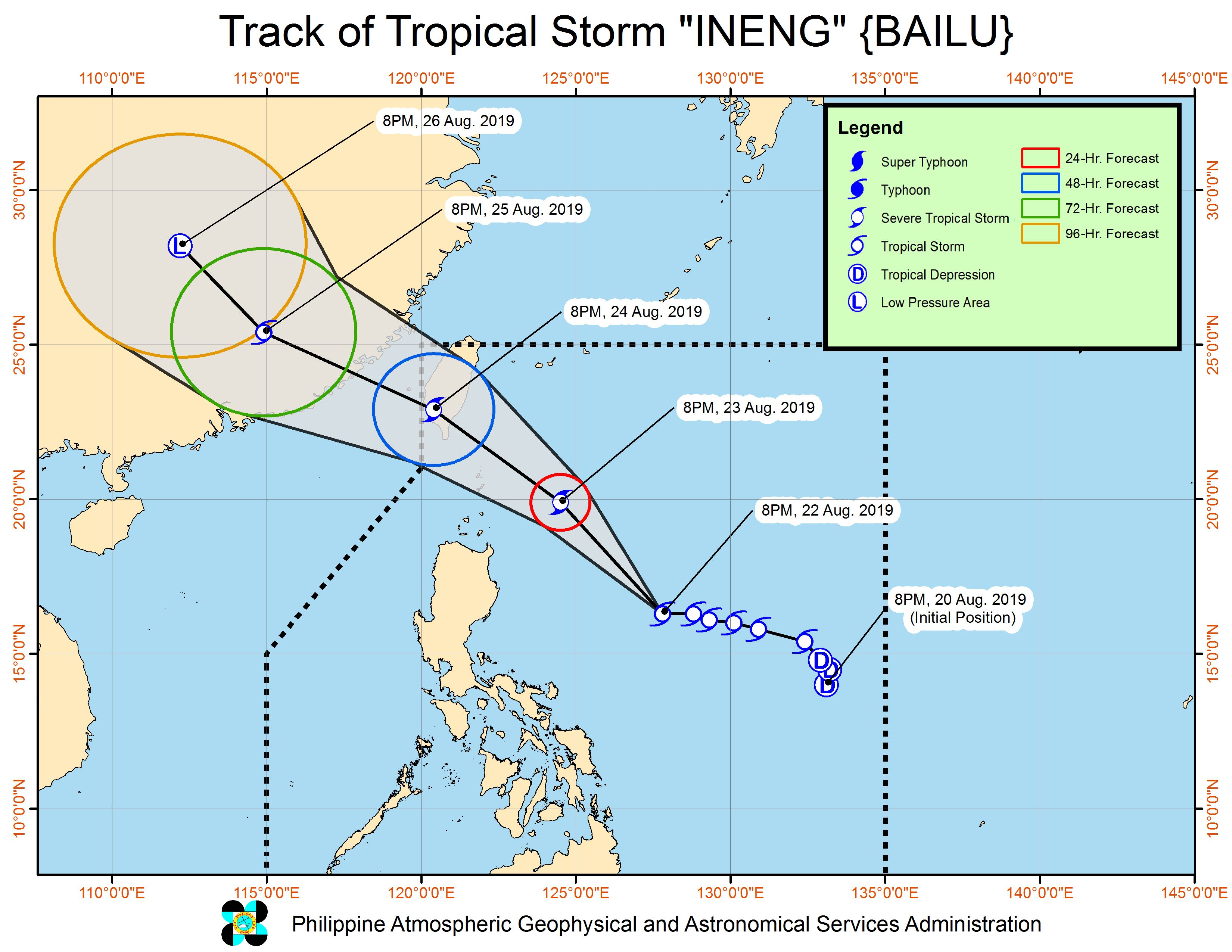 Forecast track of Tropical Storm Ineng (Bailu) as of August 22, 2019, 11 pm. Image from PAGASA