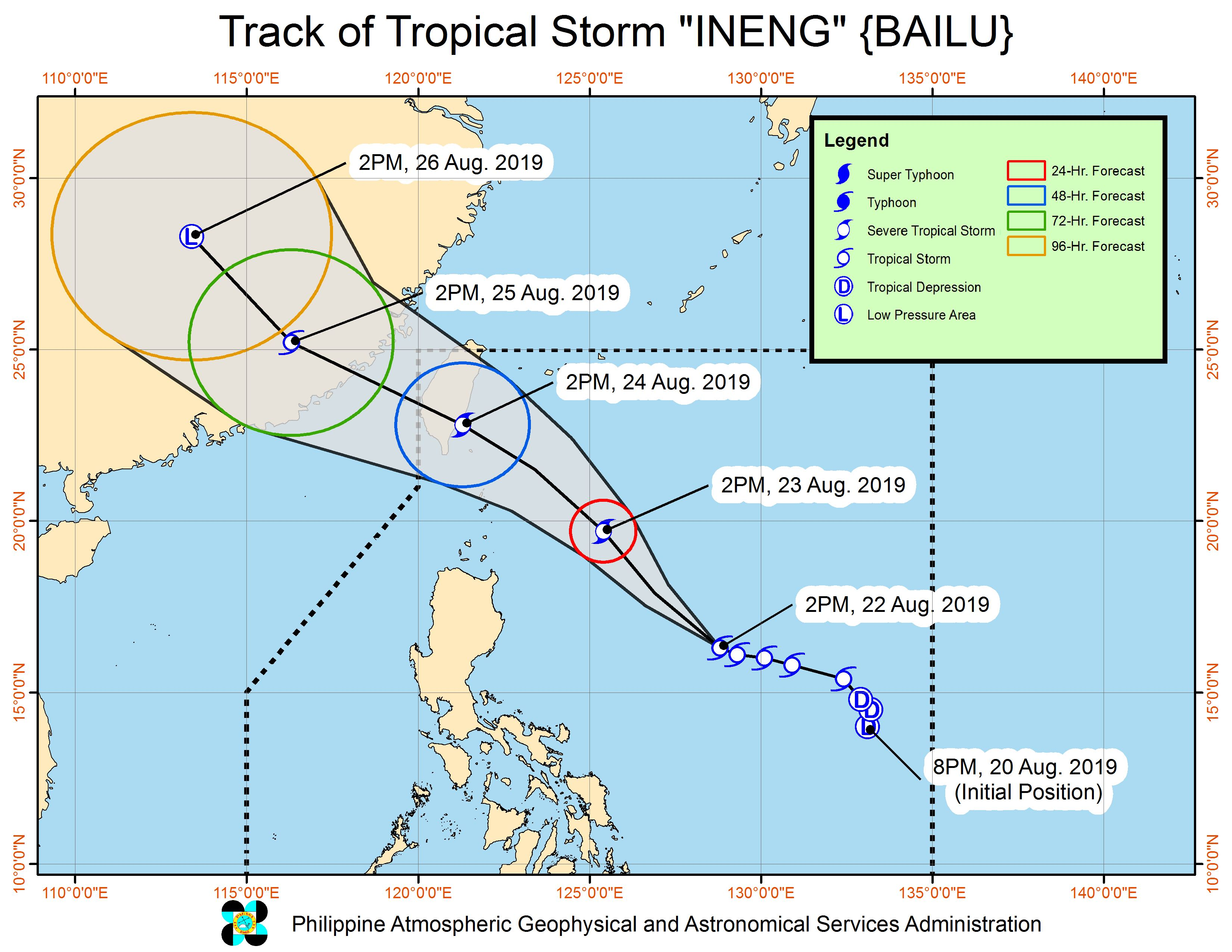 Forecast track of Tropical Storm Ineng (Bailu) as of August 22, 2019, 5 pm. Image from PAGASA