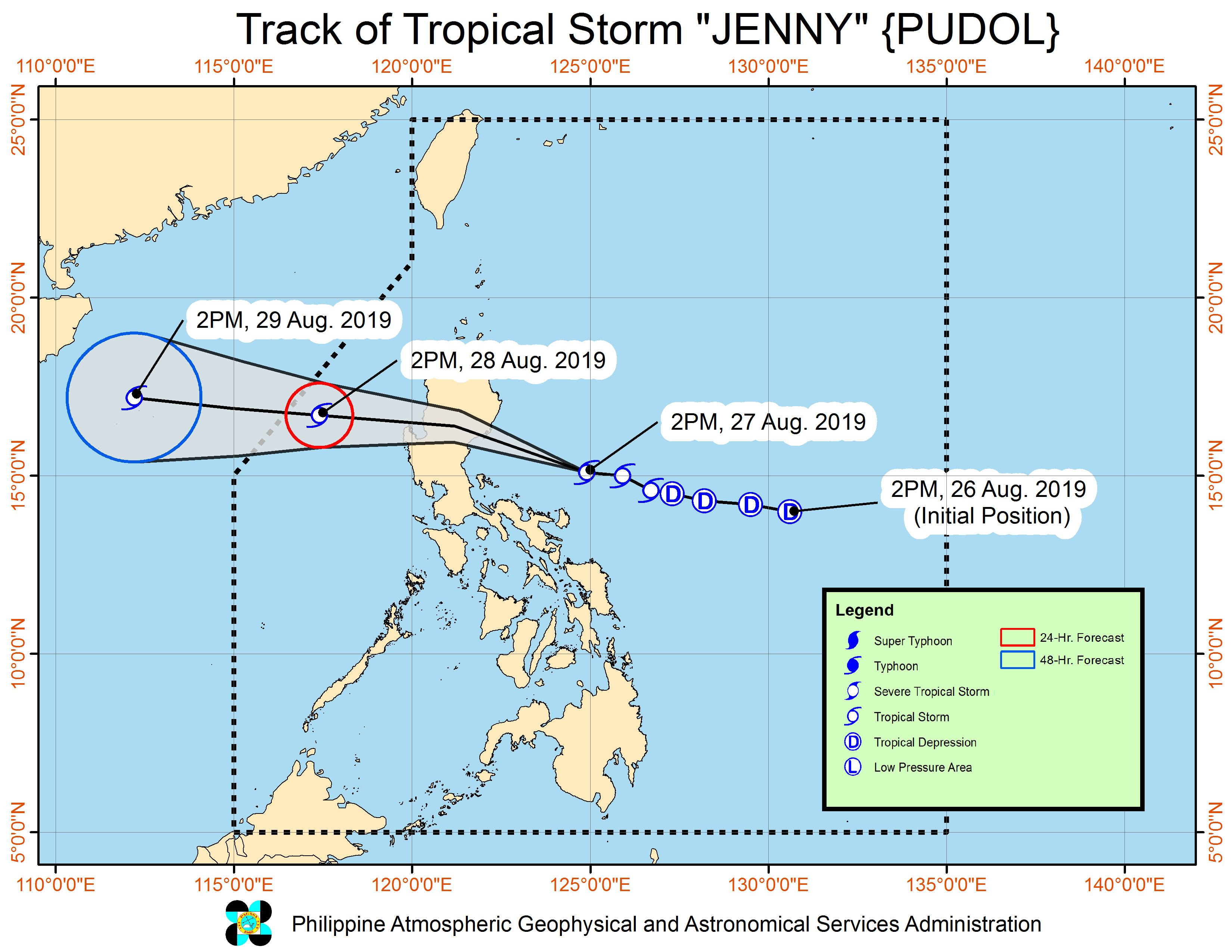 Forecast track of Tropical Storm Jenny (Podul) as of August 27, 2019, 5 pm. Image from PAGASA