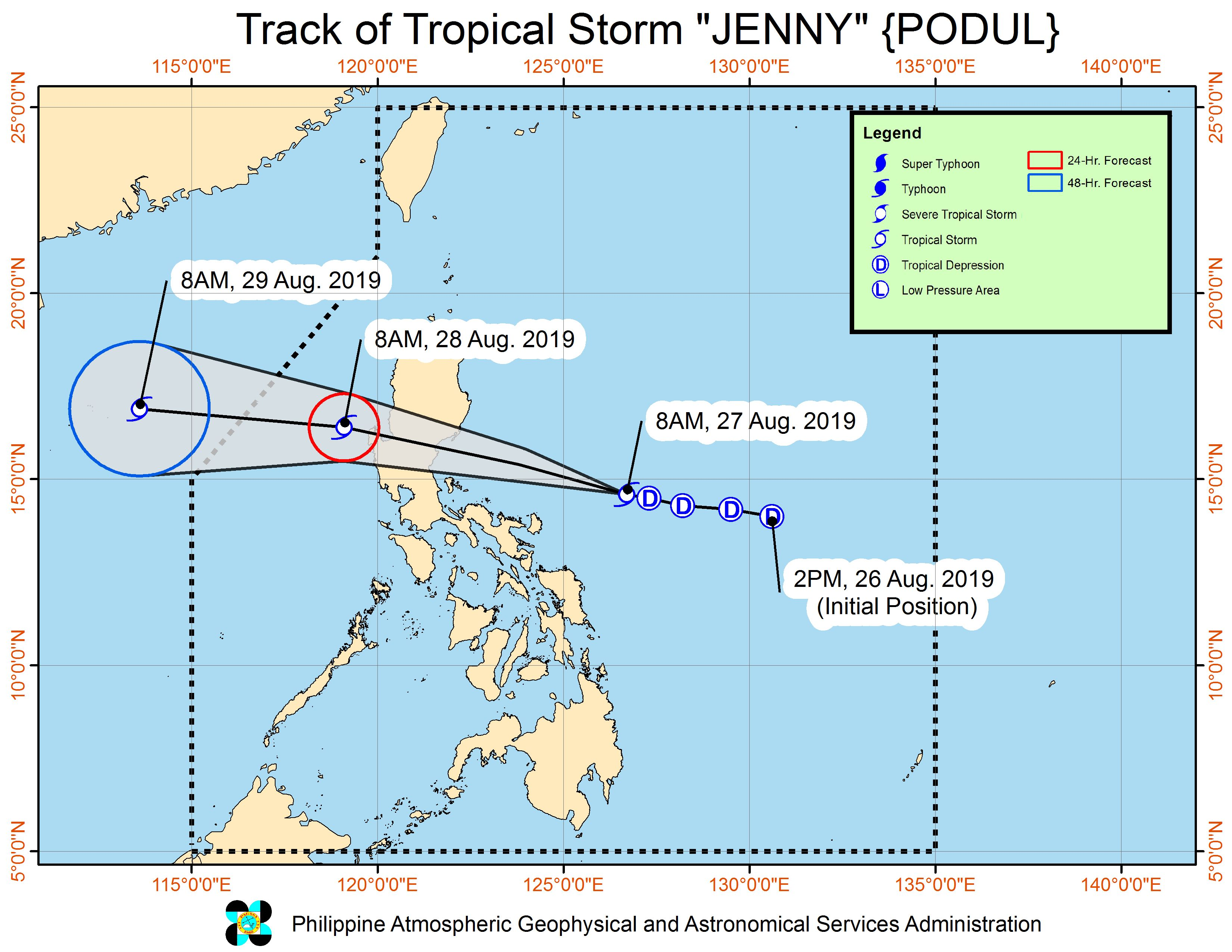 Forecast track of Tropical Storm Jenny (Podul) as of August 27, 2019, 11 am. Image from PAGASA