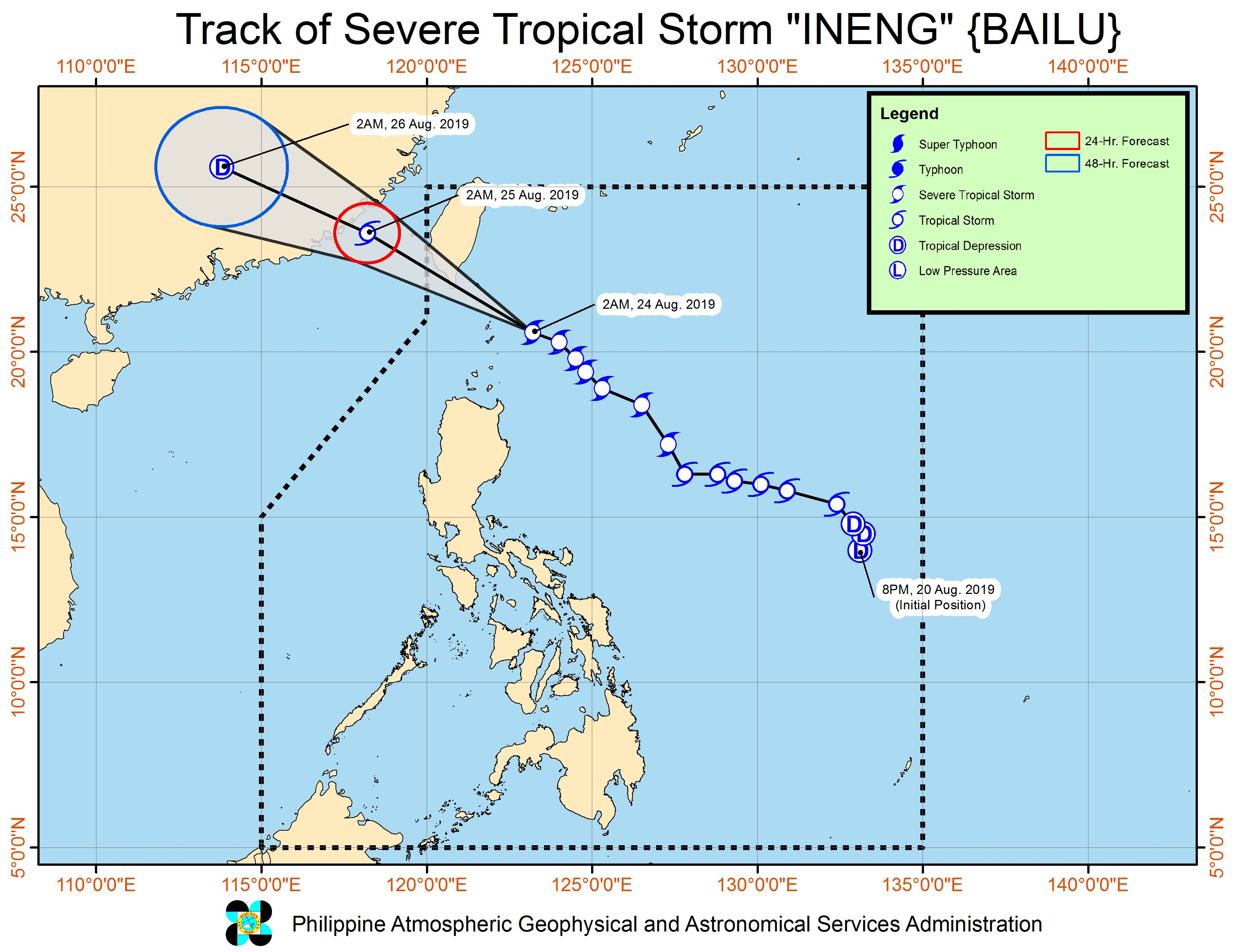 Forecast track of Severe Tropical Storm Ineng (Bailu) as of August 24, 2019, 5 am. Image from PAGASA