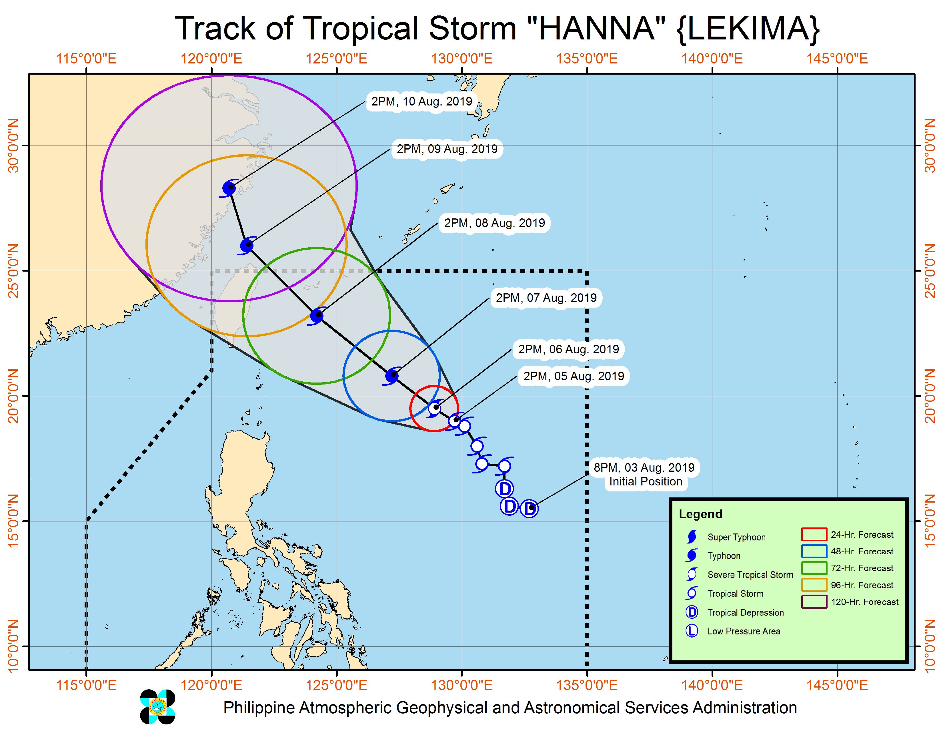 Forecast track of Tropical Storm Hanna (Lekima) as of August 5, 2019, 5 pm. Image from PAGASA