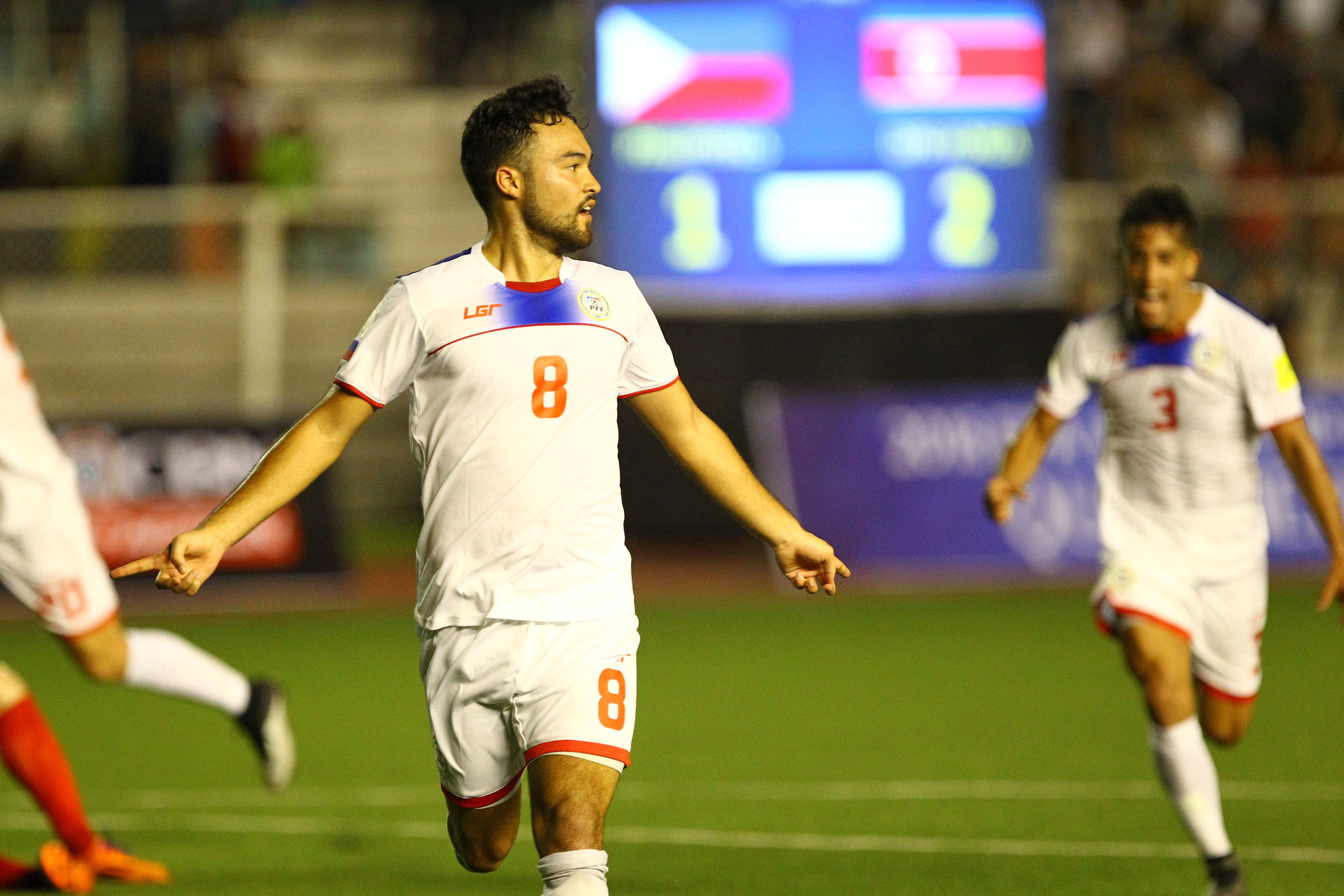 Manuel Ott, seen after scoring the team's second goal, proved himself to be irreplaceable for the Azkals. Photo by Josh Albelda/Rappler