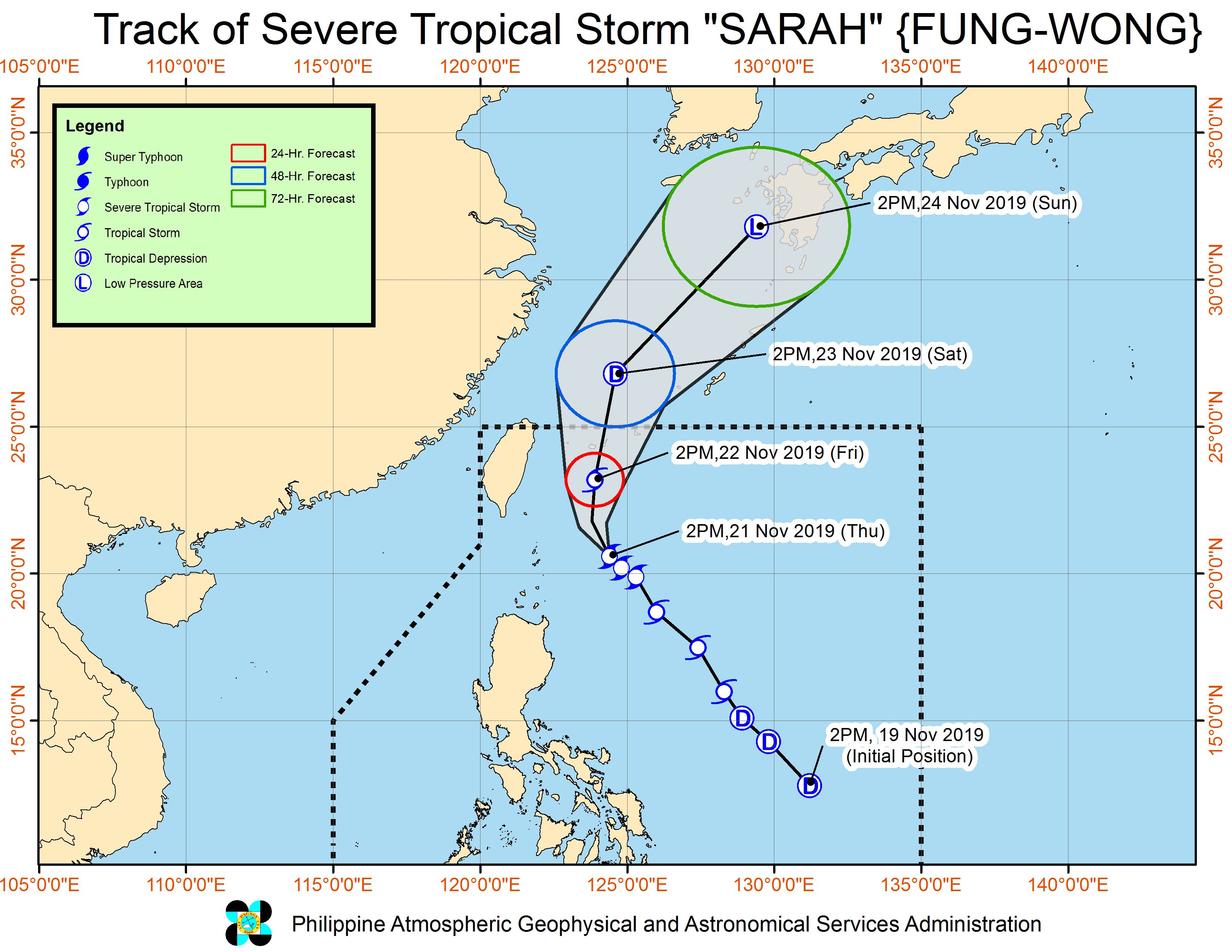 Forecast track of Severe Tropical Storm Sarah (Fung-wong) as of November 21, 2019, 5 pm. Image from PAGASA