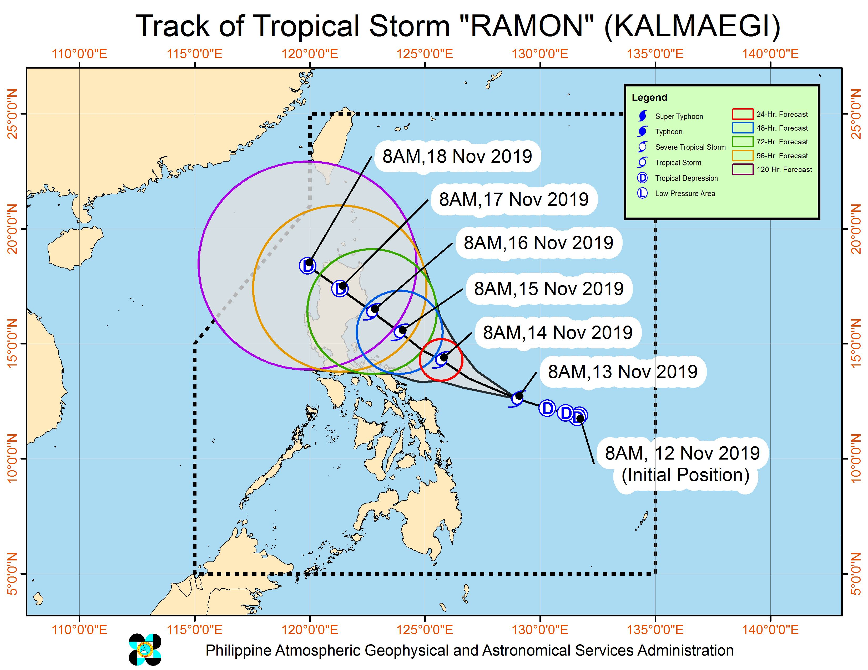 Forecast track of Tropical Storm Ramon (Kalmaegi) as of November 13, 2019, 11 am. Image from PAGASA