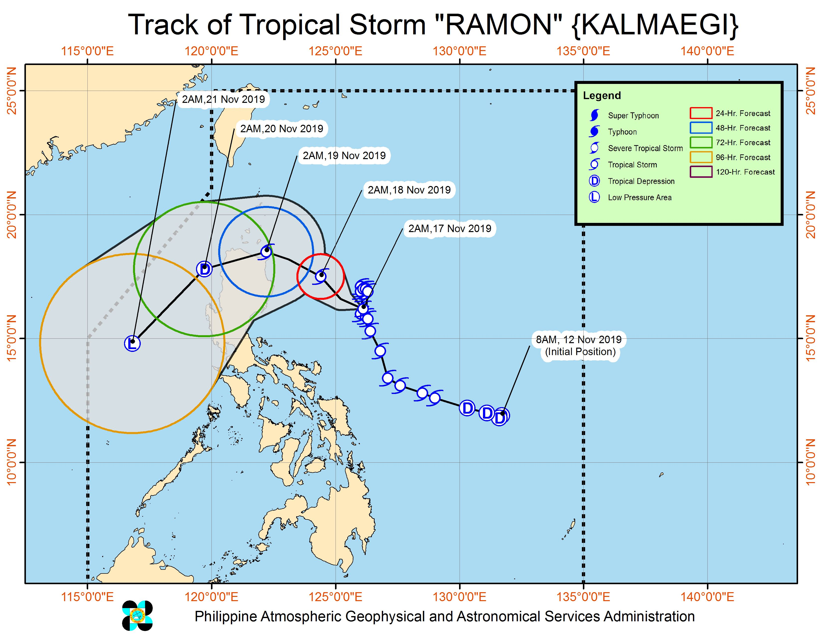 Forecast track of Tropical Storm Ramon (Kalmaegi) as of November 17, 2019, 5 am. Image from PAGASA