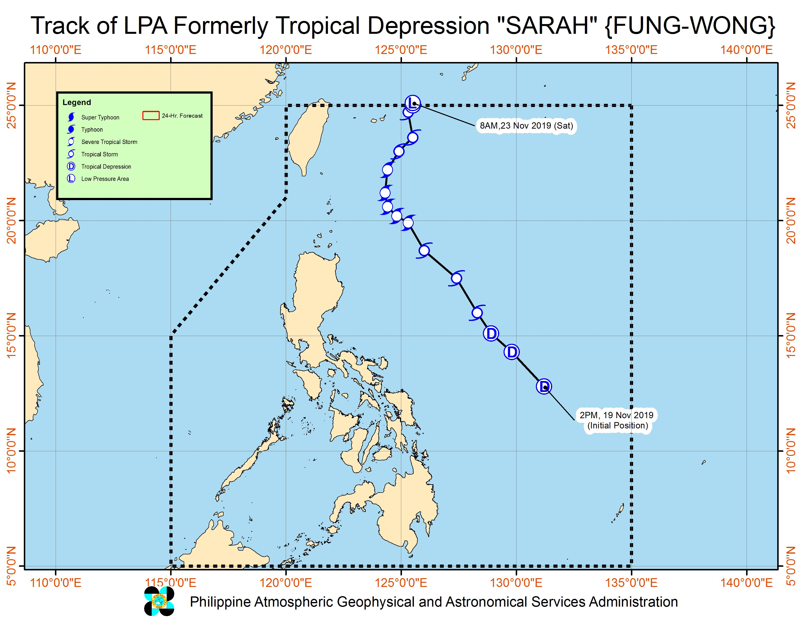 Forecast track of the low pressure area which used to be Tropical Depression Sarah (Fung-wong), as of November 23, 2019, 11 am. Image from PAGASA