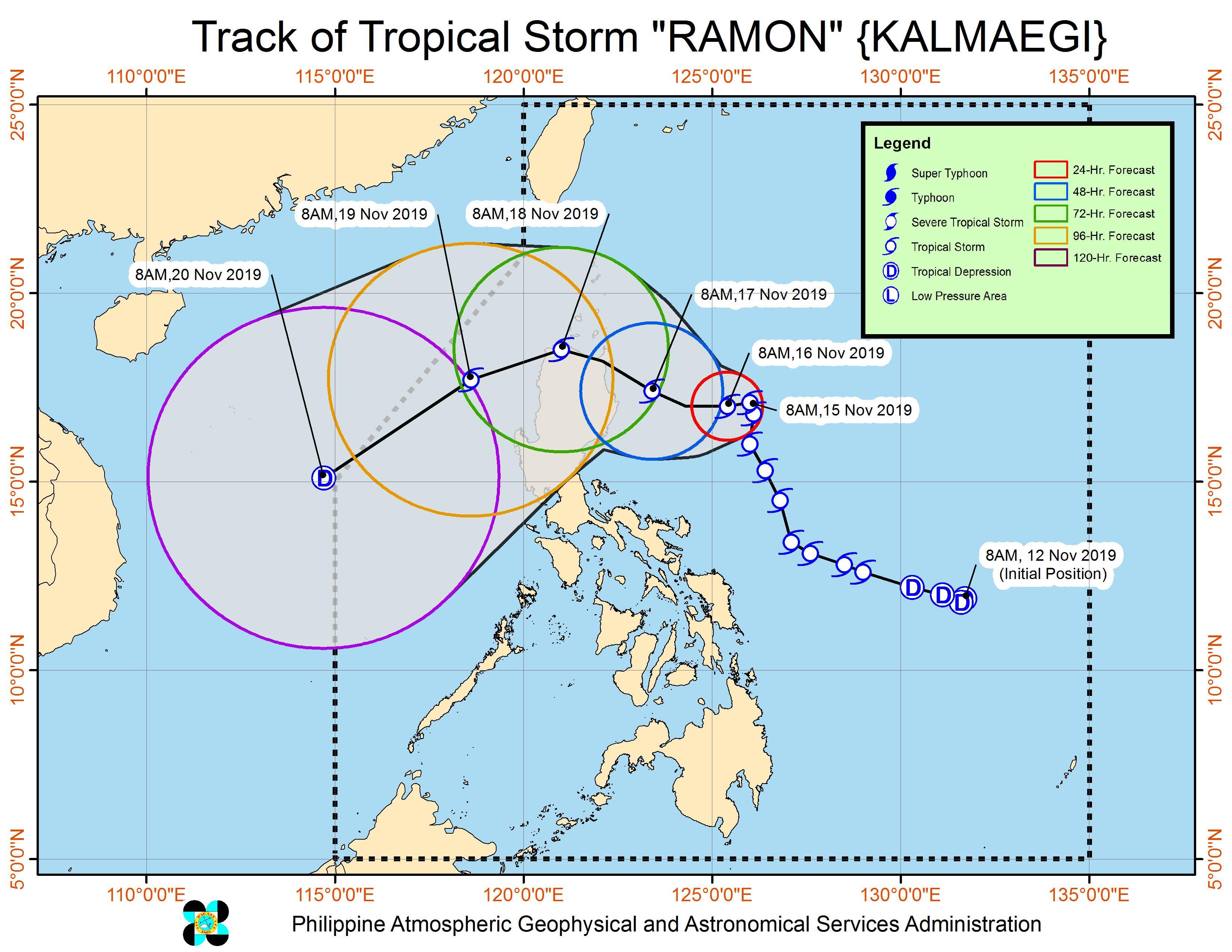 Forecast track of Tropical Storm Ramon (Kalmaegi) as of November 15, 2019, 11 am. Image from PAGASA