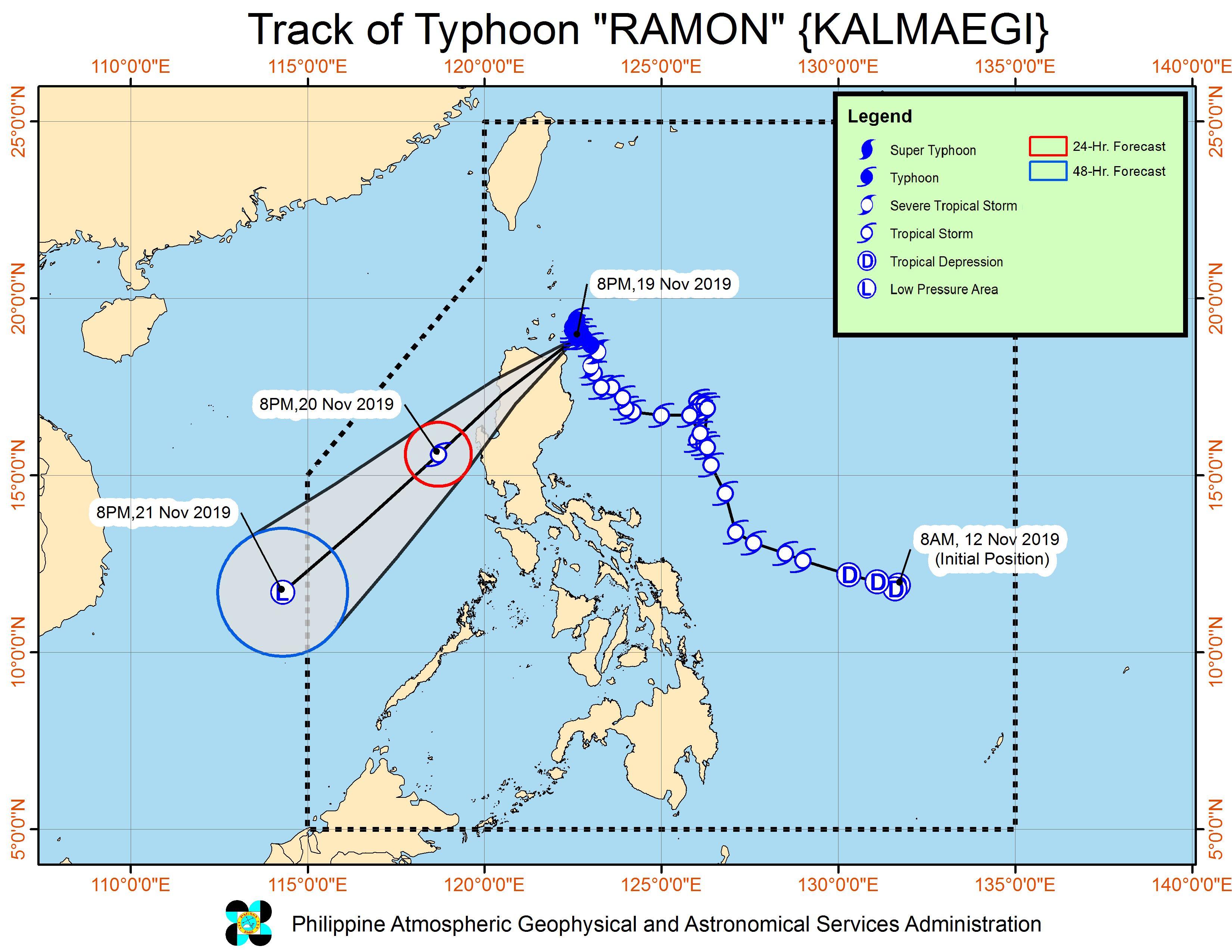 Forecast track of Typhoon Ramon (Kalmaegi) as of November 19, 2019, 11 pm. Image from PAGASA