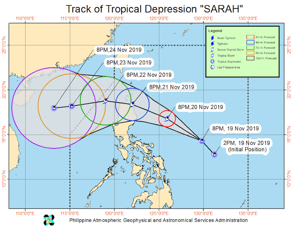 Forecast track of Tropical Depression Sarah as of November 19, 2019, 11 pm. Image from PAGASA