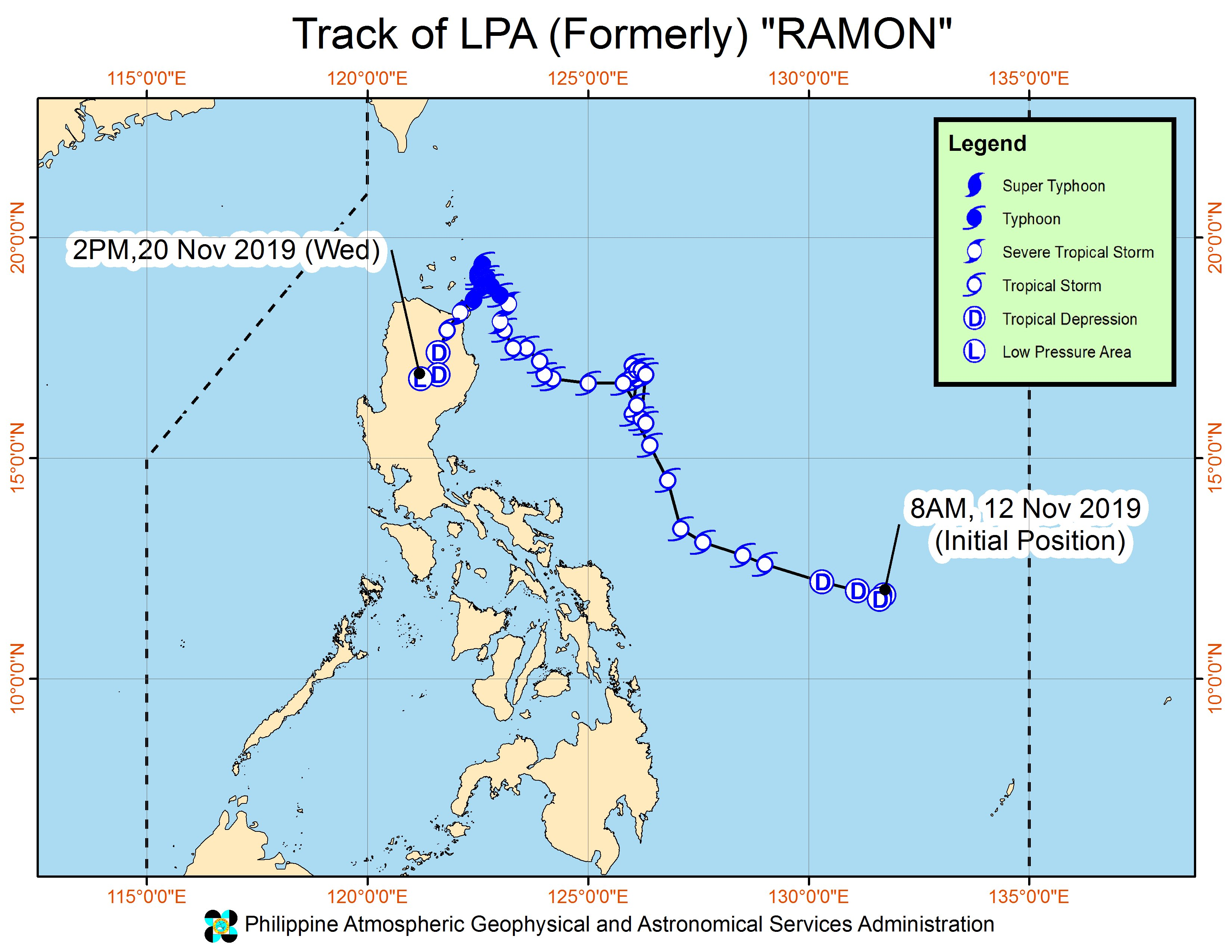 Forecast track of the low pressure area which used to be Tropical Depression Ramon (Kalmaegi) as of November 20, 2019, 5 pm. Image from PAGASA