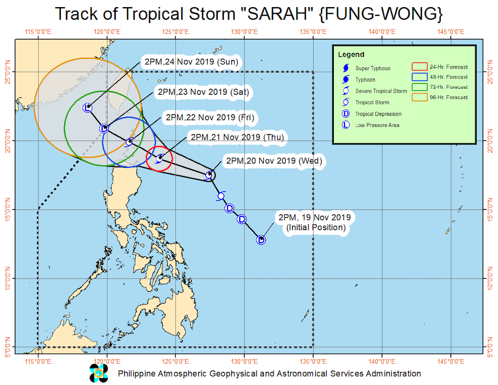 Forecast track of Tropical Storm Sarah (Fung-wong) as of November 20, 2019, 5 pm. Image from PAGASA