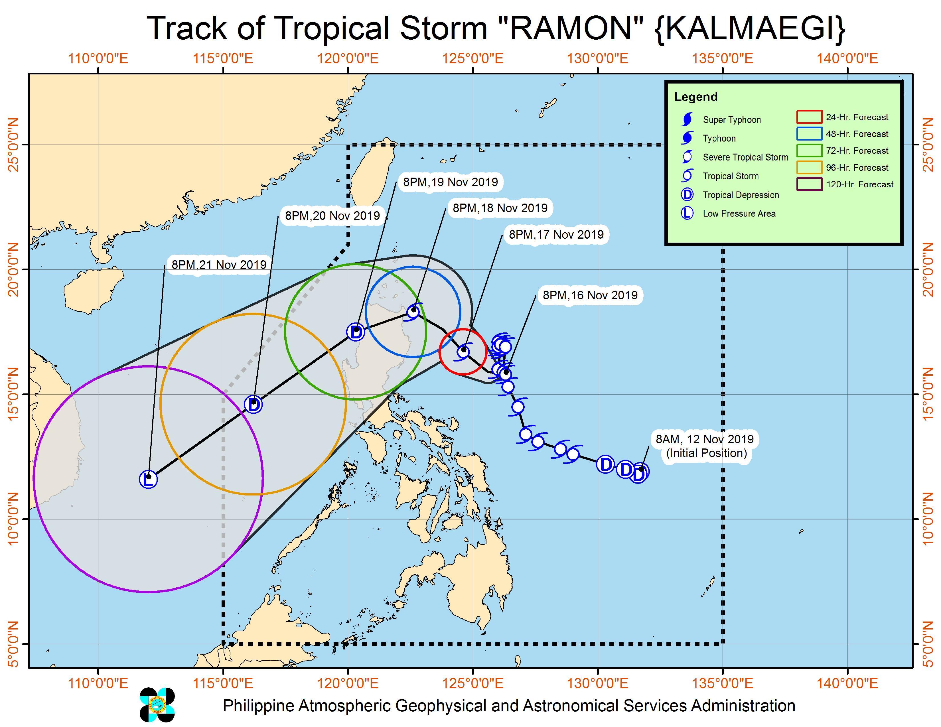 Forecast track of Tropical Storm Ramon (Kalmaegi) as of November 16, 2019, 11 pm. Image from PAGASA