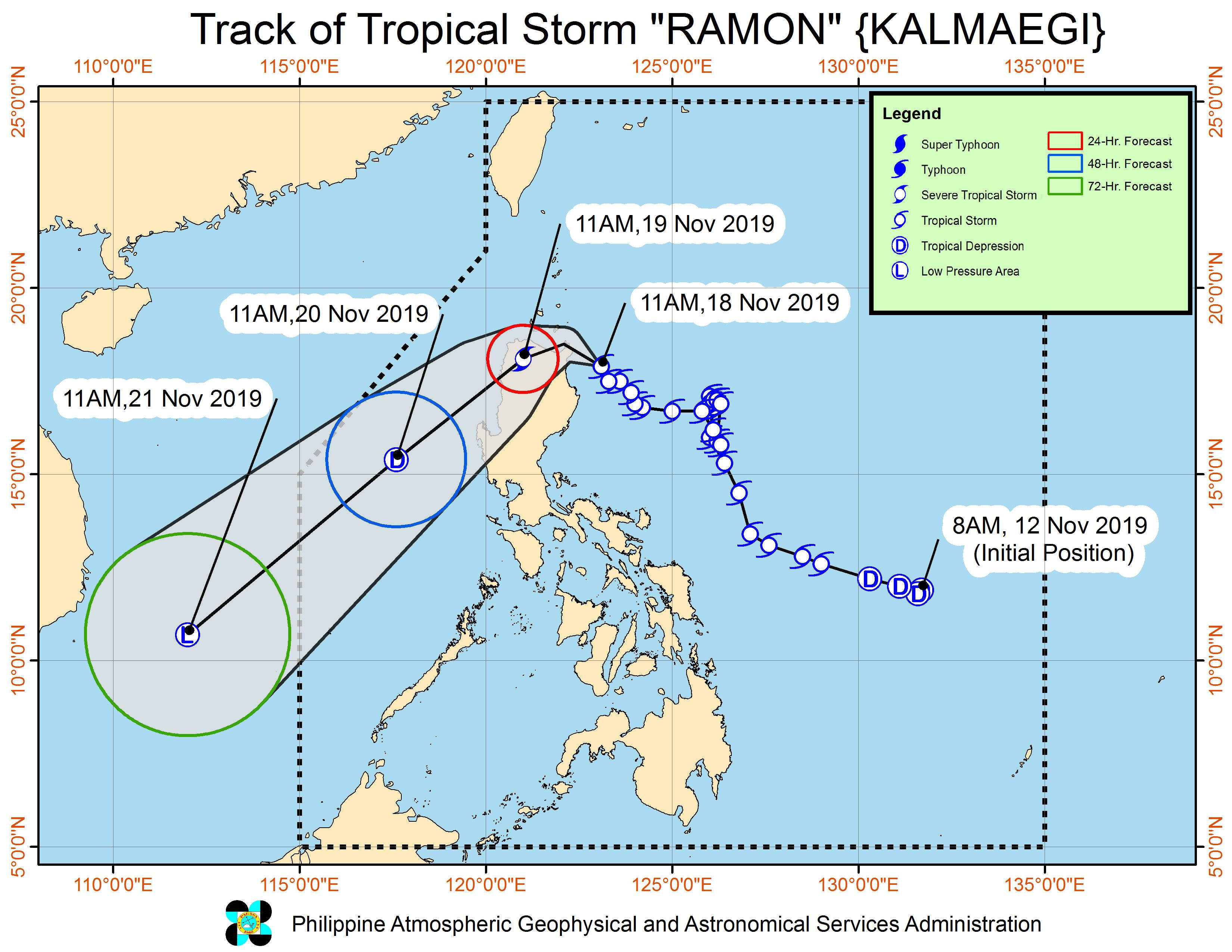 Forecast track of Tropical Storm Ramon (Kalmaegi) as of November 18, 2019, 2 pm. Image from PAGASA