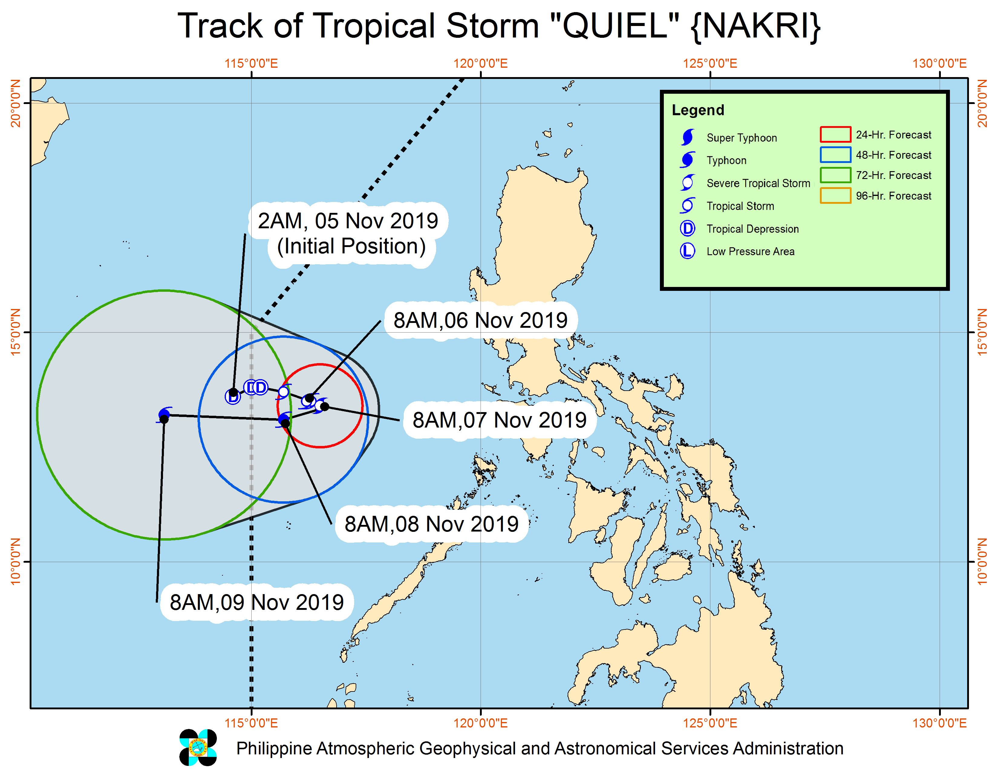 Forecast track of Tropical Storm Quiel (Nakri) as of November 6, 2019, 11 am. Image from PAGASA