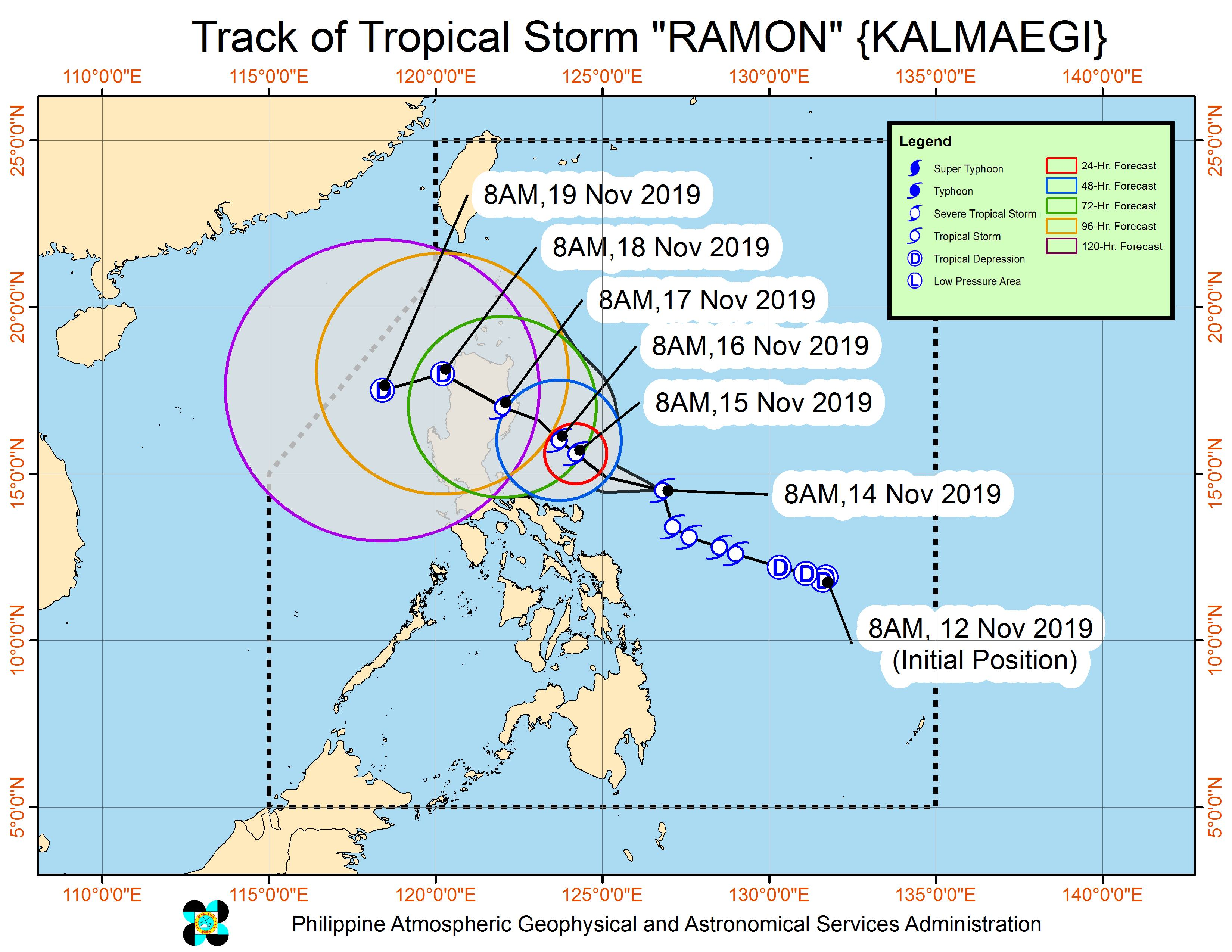 Forecast track of Tropical Storm Ramon (Kalmaegi) as of November 14, 2019, 11 am. Image from PAGASA