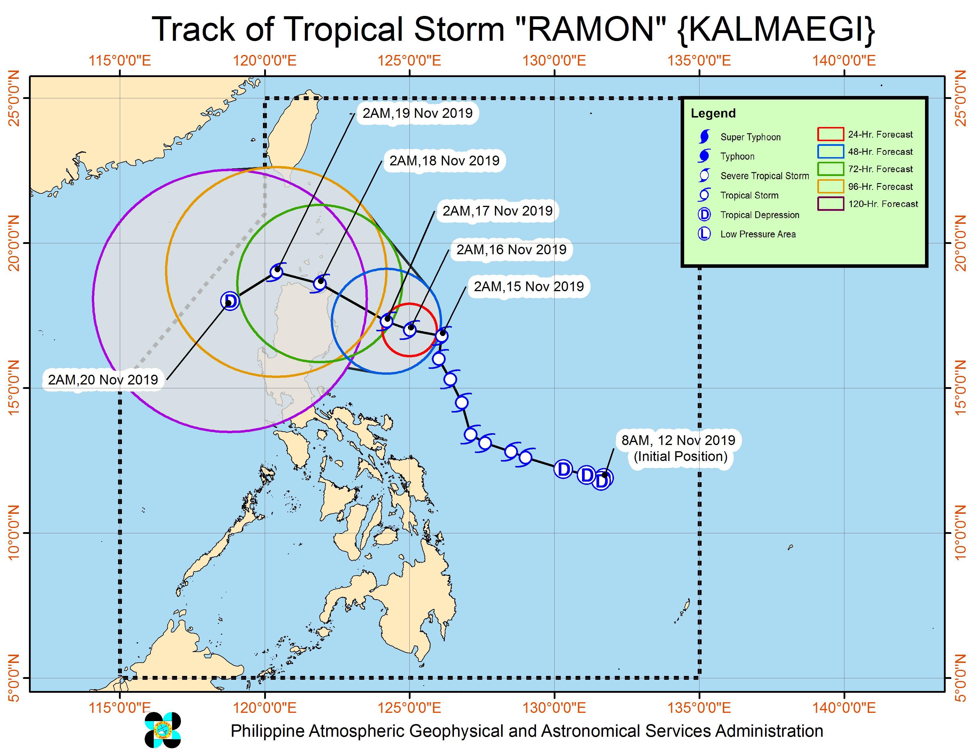 Forecast track of Tropical Storm Ramon (Kalmaegi) as of November 15, 2019, 5 am. Image from PAGASA