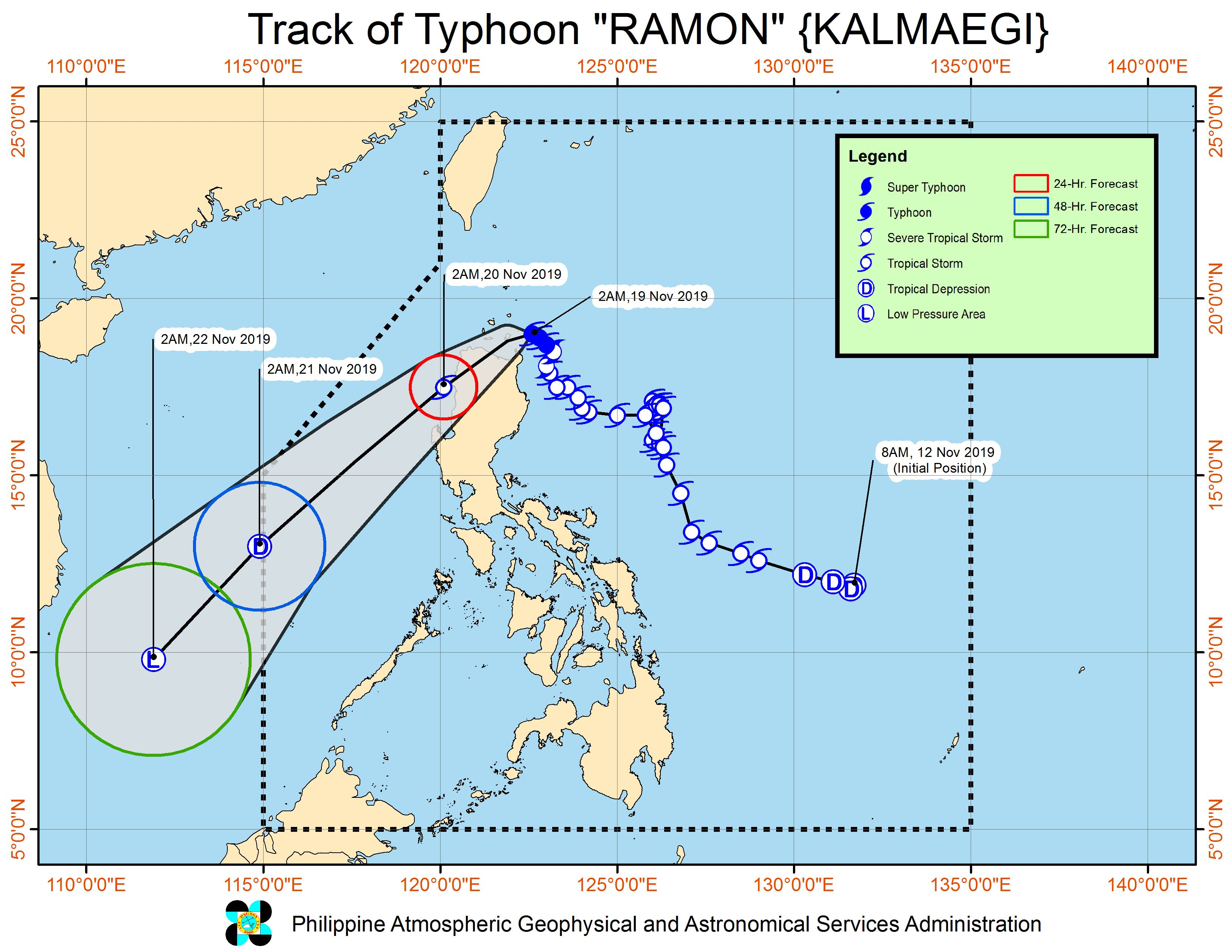 Forecast track of Typhoon Ramon (Kalmaegi) as of November 19, 2019, 5 am. Image from PAGASA