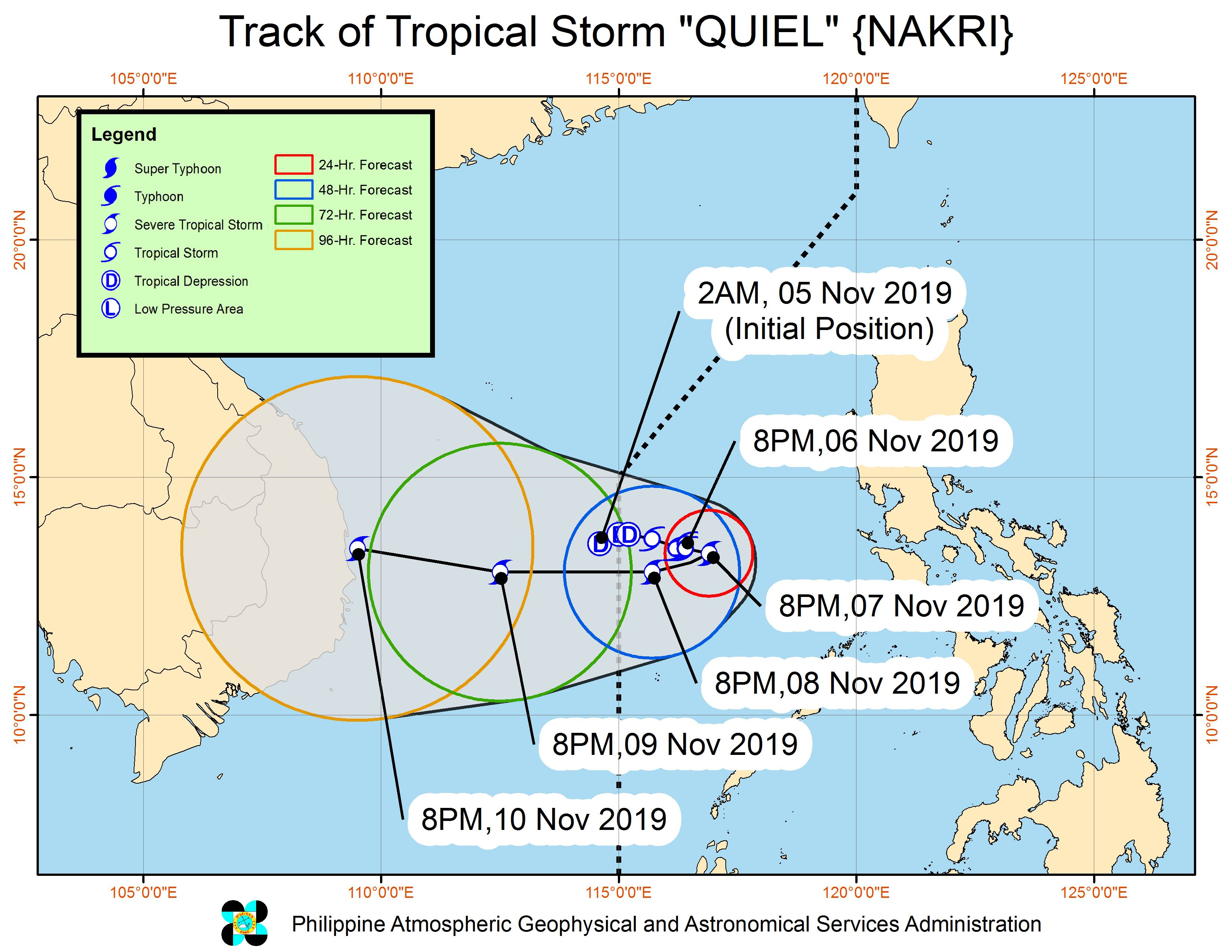 Forecast track of Tropical Storm Quiel (Nakri) as of November 6, 2019, 11 pm. Image from PAGASA