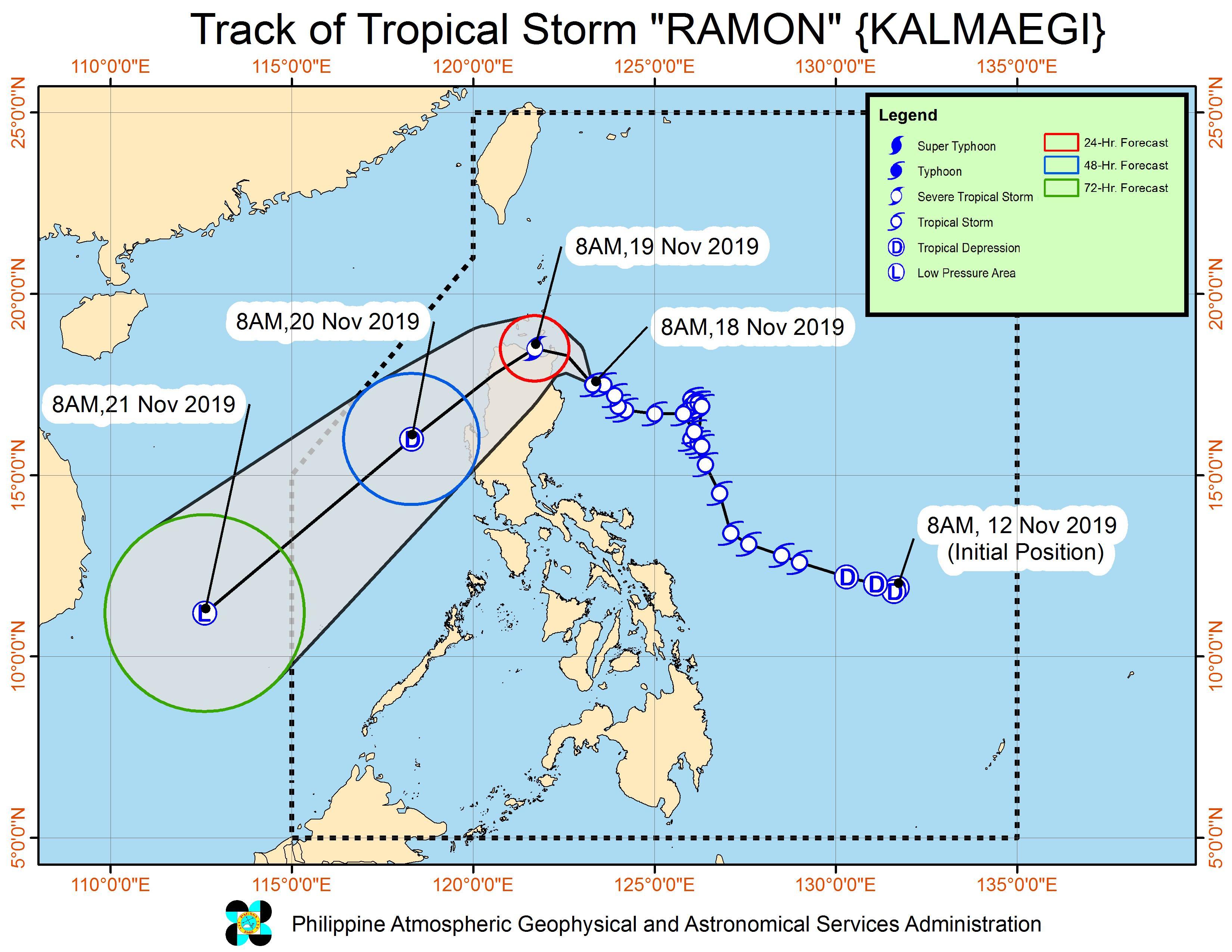 Forecast track of Tropical Storm Ramon (Kalmaegi) as of November 18, 2019, 11 am. Image from PAGASA