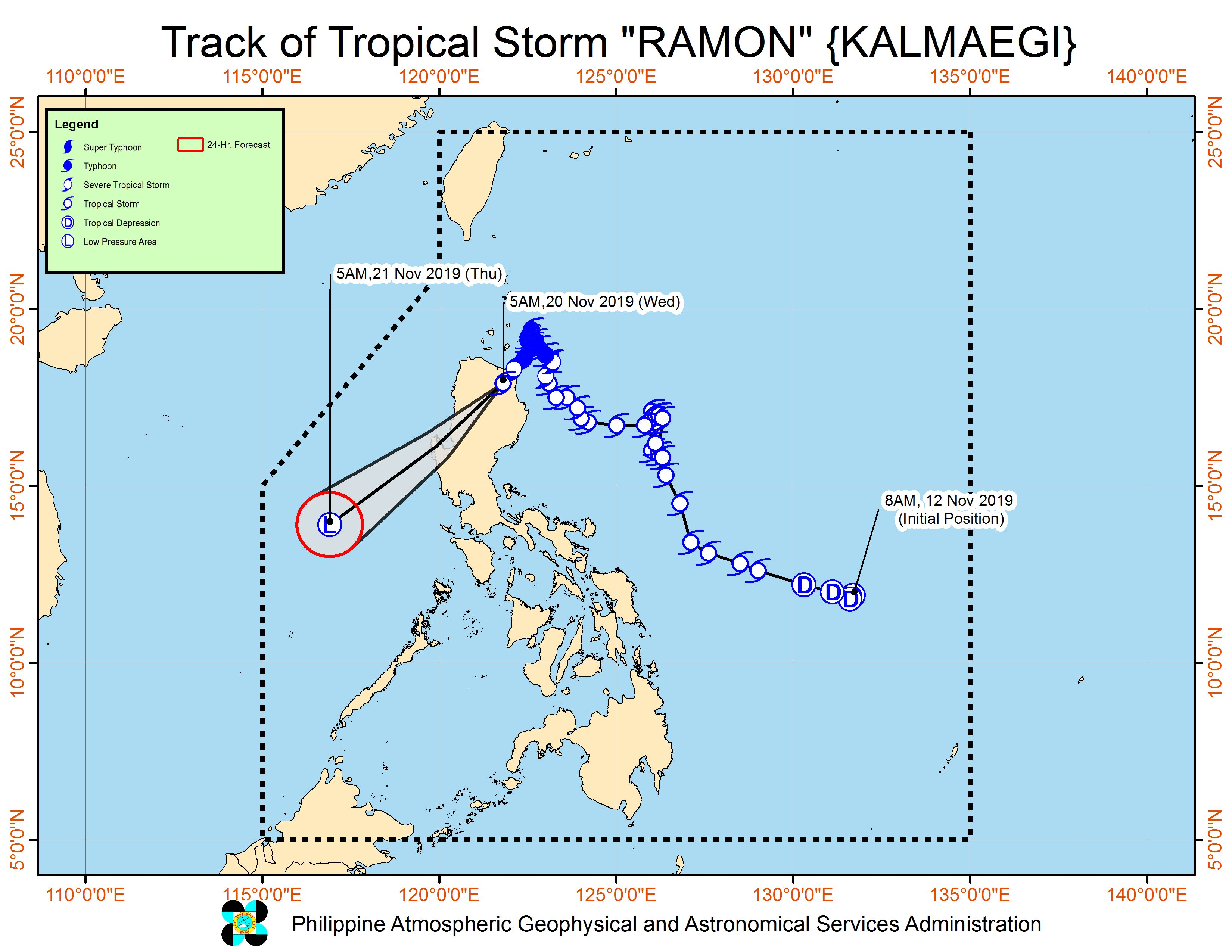 Forecast track of Tropical Storm Ramon (Kalmaegi) as of November 20, 2019, 8 am. Image from PAGASA