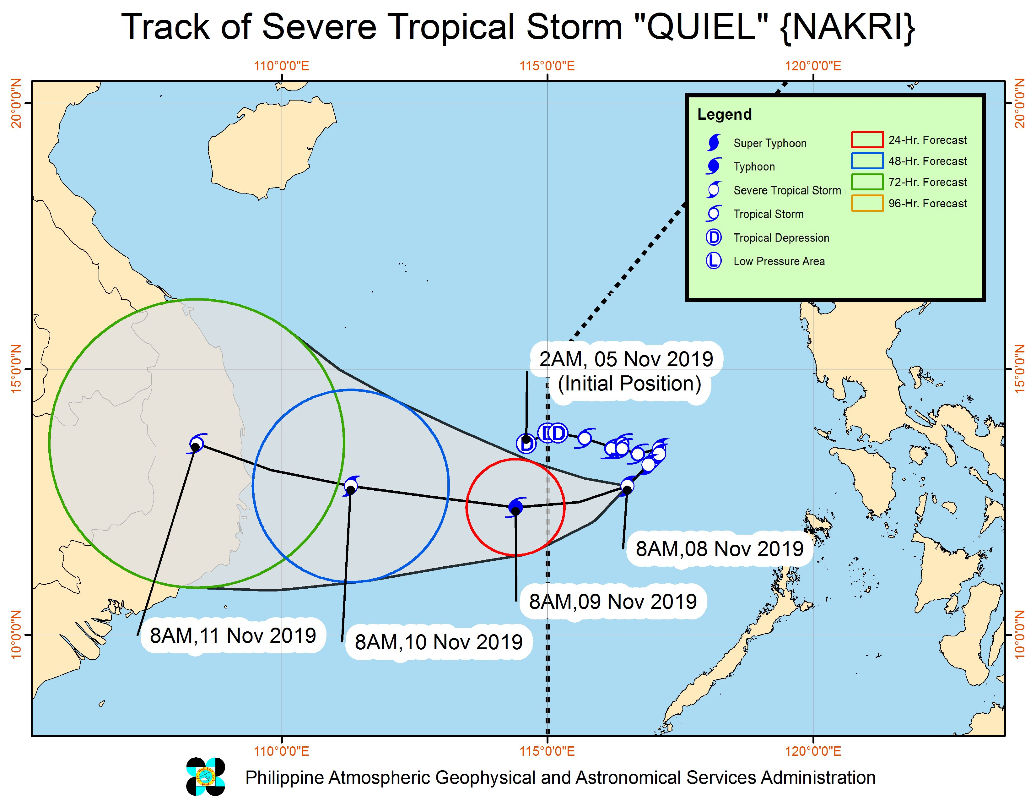 Forecast track of Severe Tropical Storm Quiel (Nakri) as of November 8, 2019, 11 am. Image from PAGASA