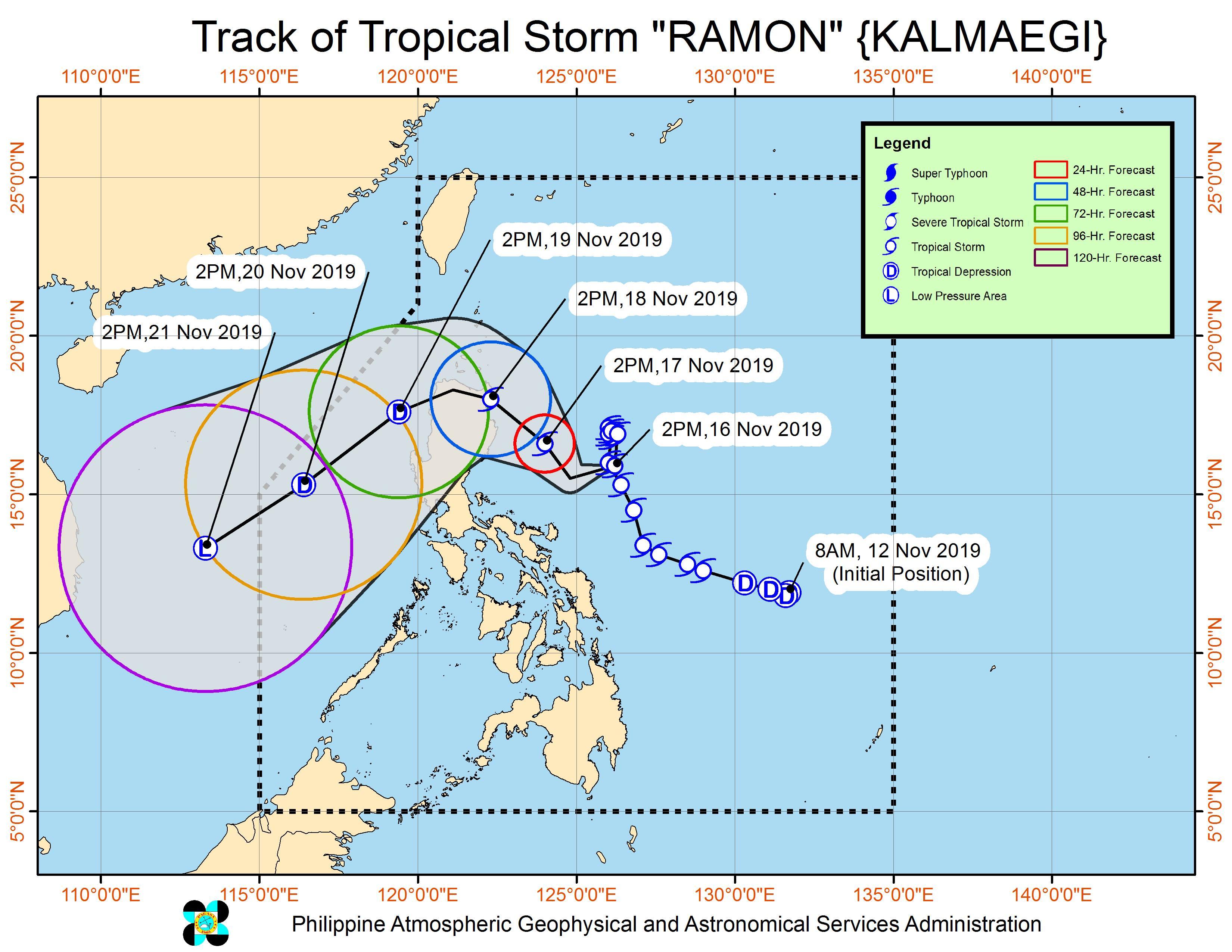 Forecast track of Tropical Storm Ramon (Kalmaegi) as of November 16, 2019, 5 pm. Image from PAGASA