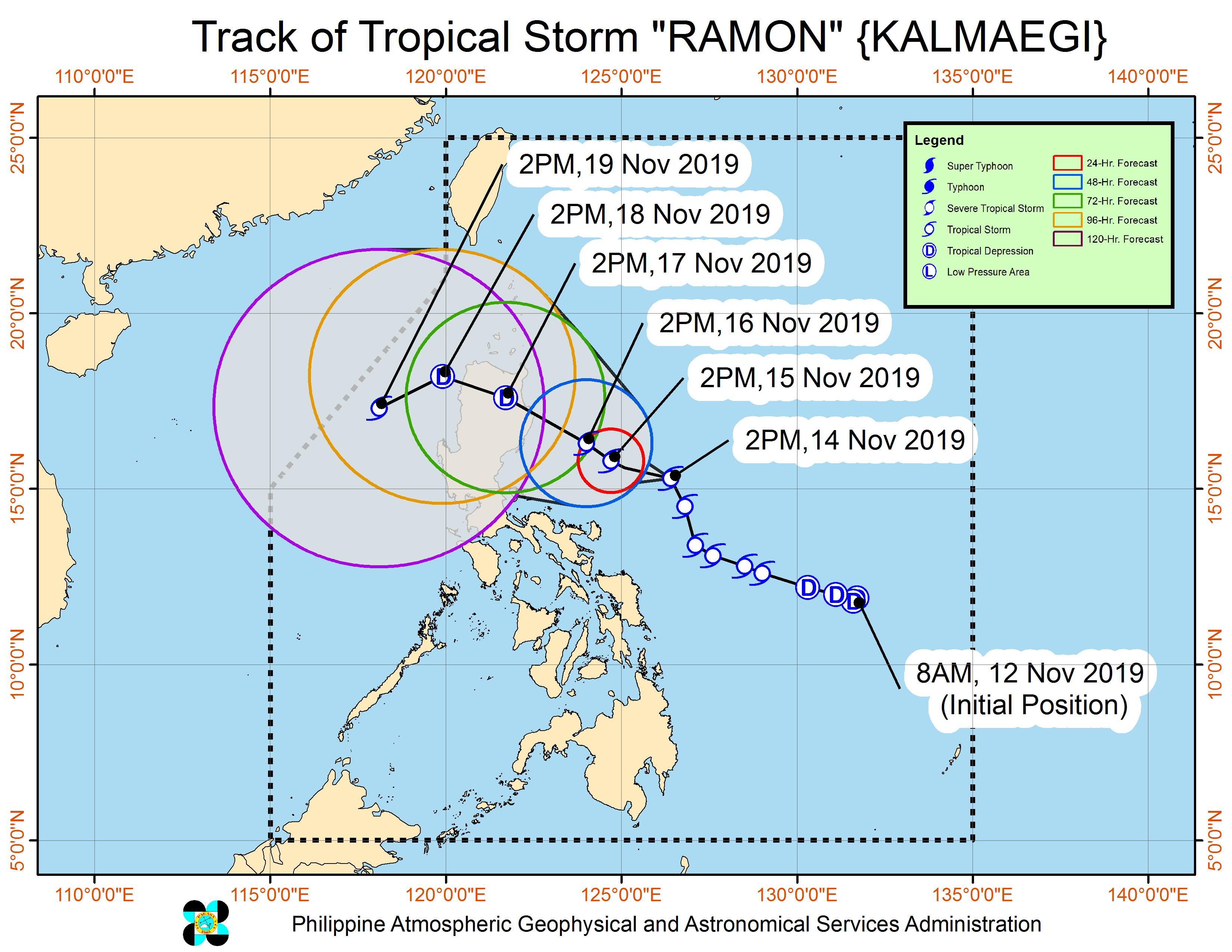 Forecast track of Tropical Storm Ramon (Kalmaegi) as of November 14, 2019, 5 pm. Image from PAGASA
