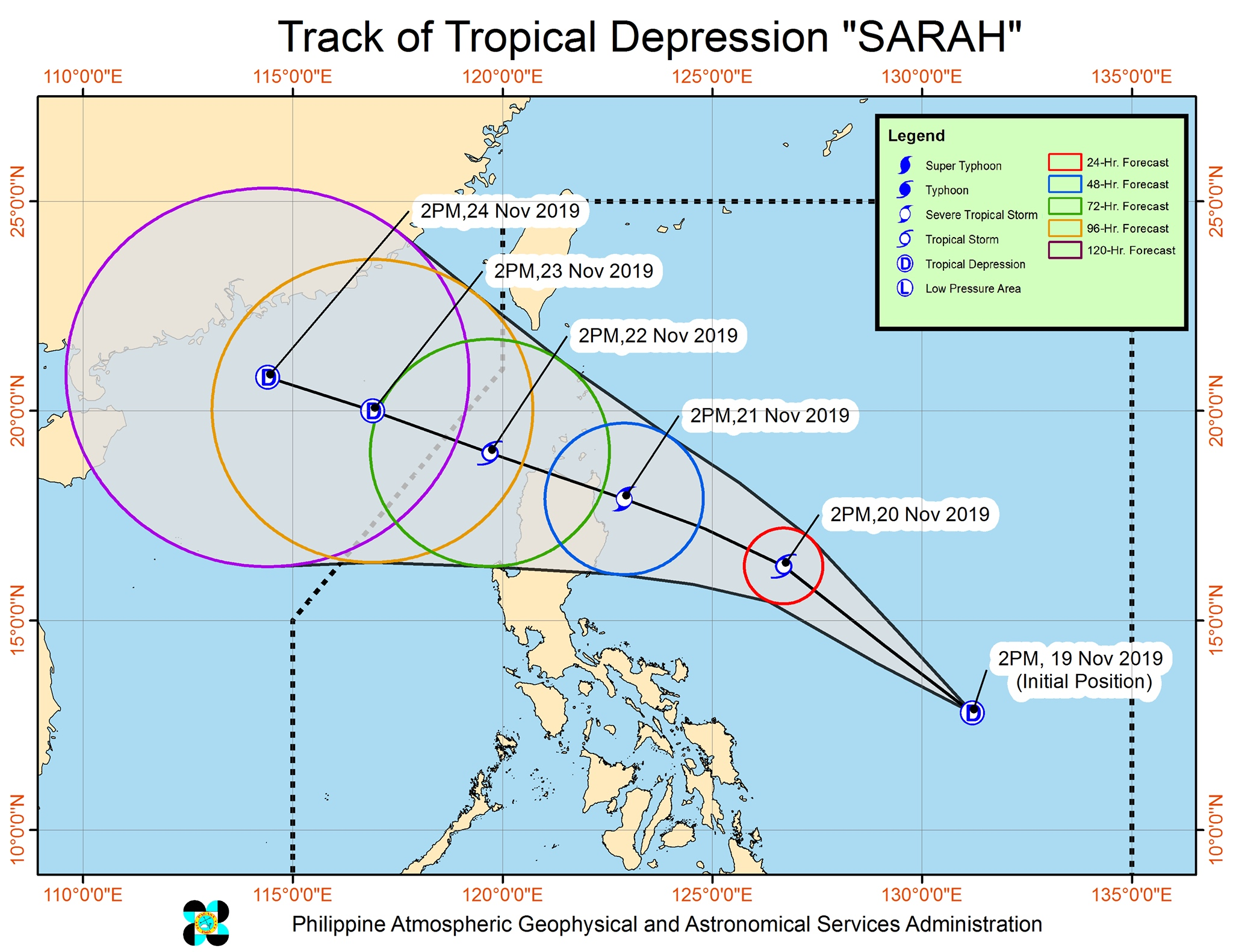 Forecast track of Tropical Depression Sarah as of November 19, 2019, 5 pm. Image from PAGASA