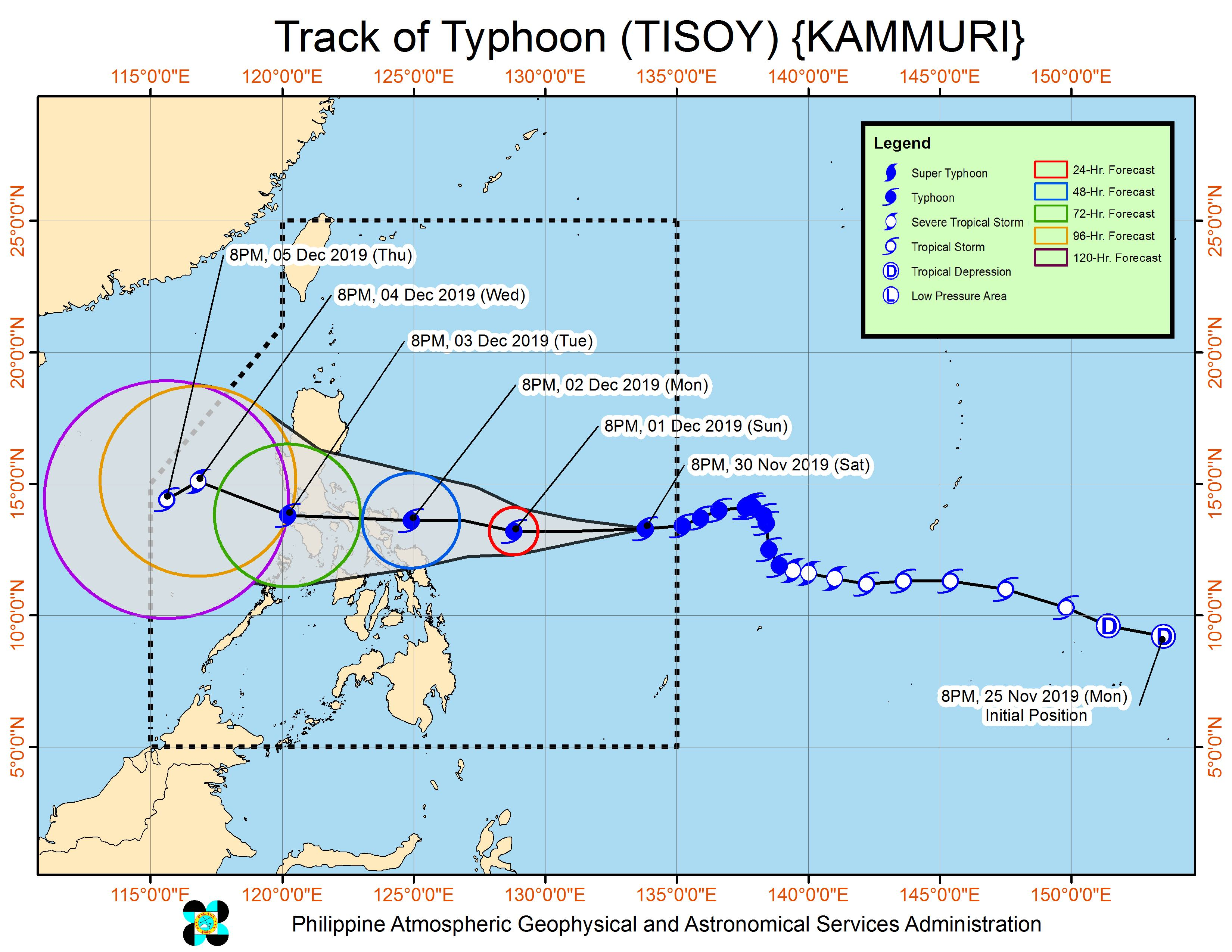 Forecast track of Typhoon Tisoy (Kammuri) as of November 30, 2019, 11 pm. Image from PAGASA