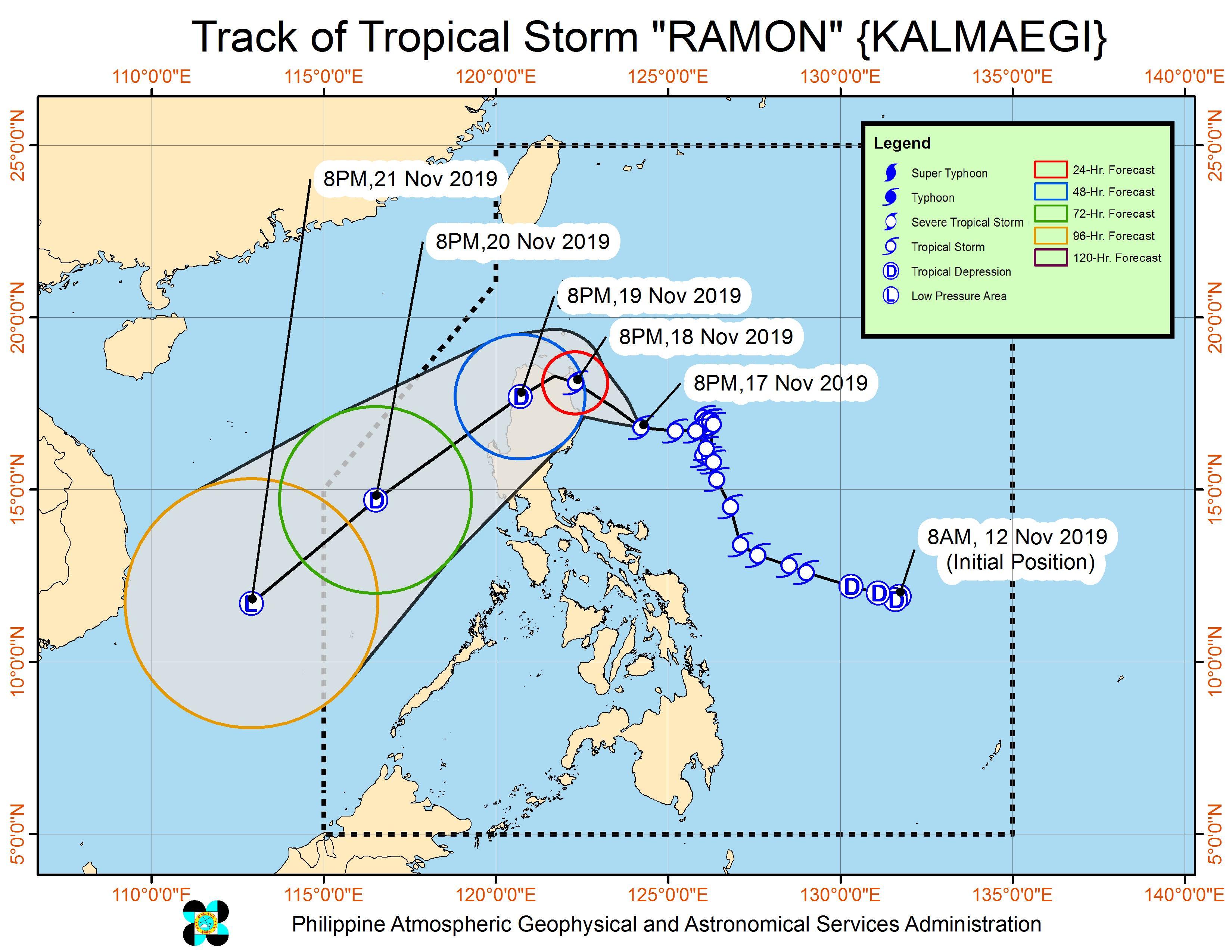 Forecast track of Tropical Storm Ramon (Kalmaegi) as of November 17, 2019, 11 pm. Image from PAGASA