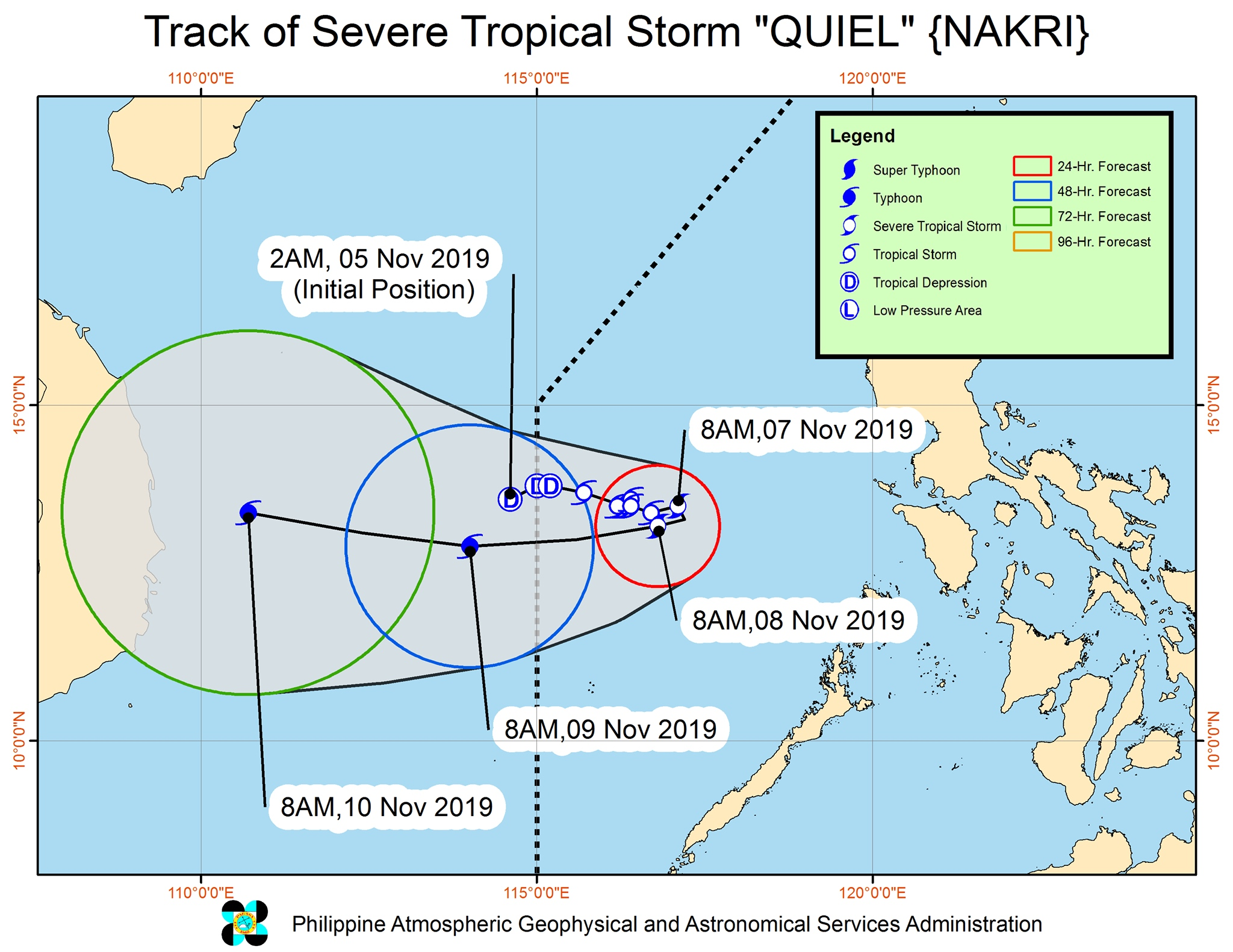 Forecast track of Severe Tropical Storm Quiel (Nakri) as of November 7, 2019, 11 am. Image from PAGASA
