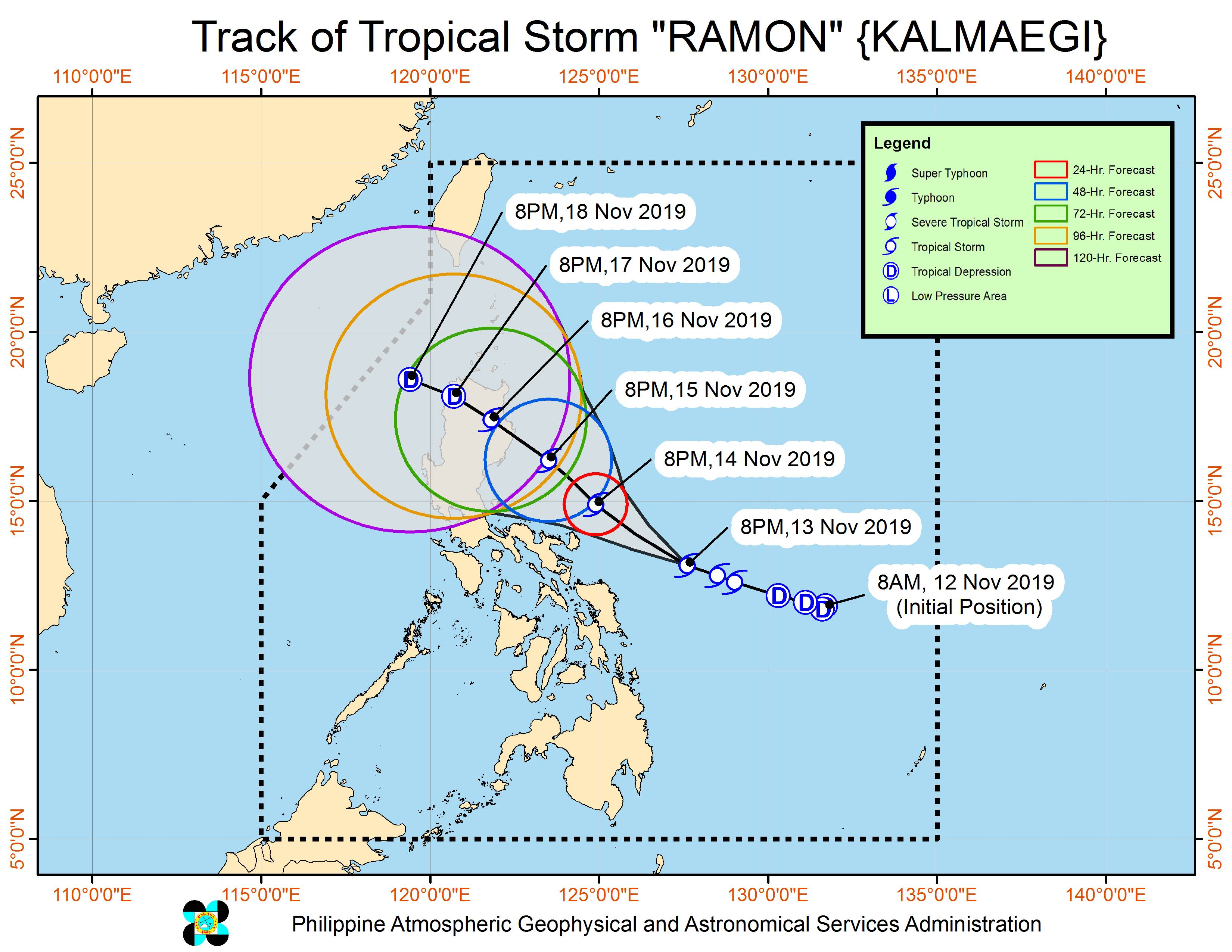 Forecast track of Tropical Storm Ramon (Kalmaegi) as of November 13, 2019, 11 pm. Image from PAGASA