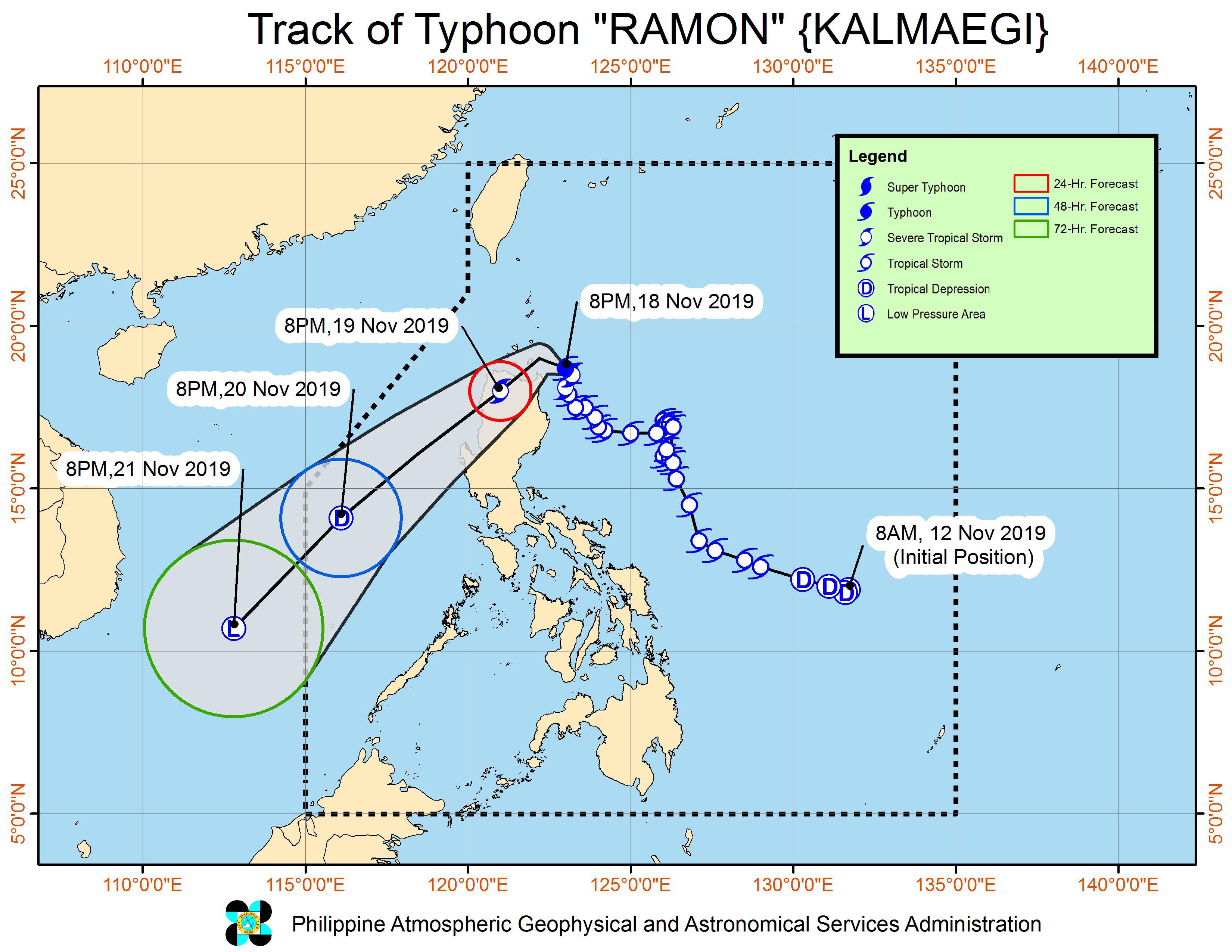 Forecast track of Typhoon Ramon (Kalmaegi) as of November 18, 2019, 11 pm. Image from PAGASA