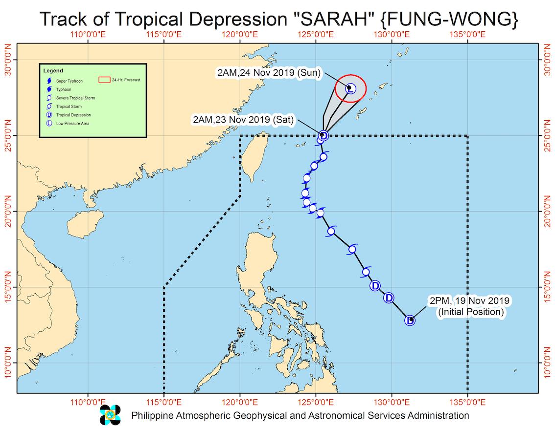Forecast track of Tropical Depression Sarah (Fung-wong) as of November 23, 2019, 5 am. Image from PAGASA