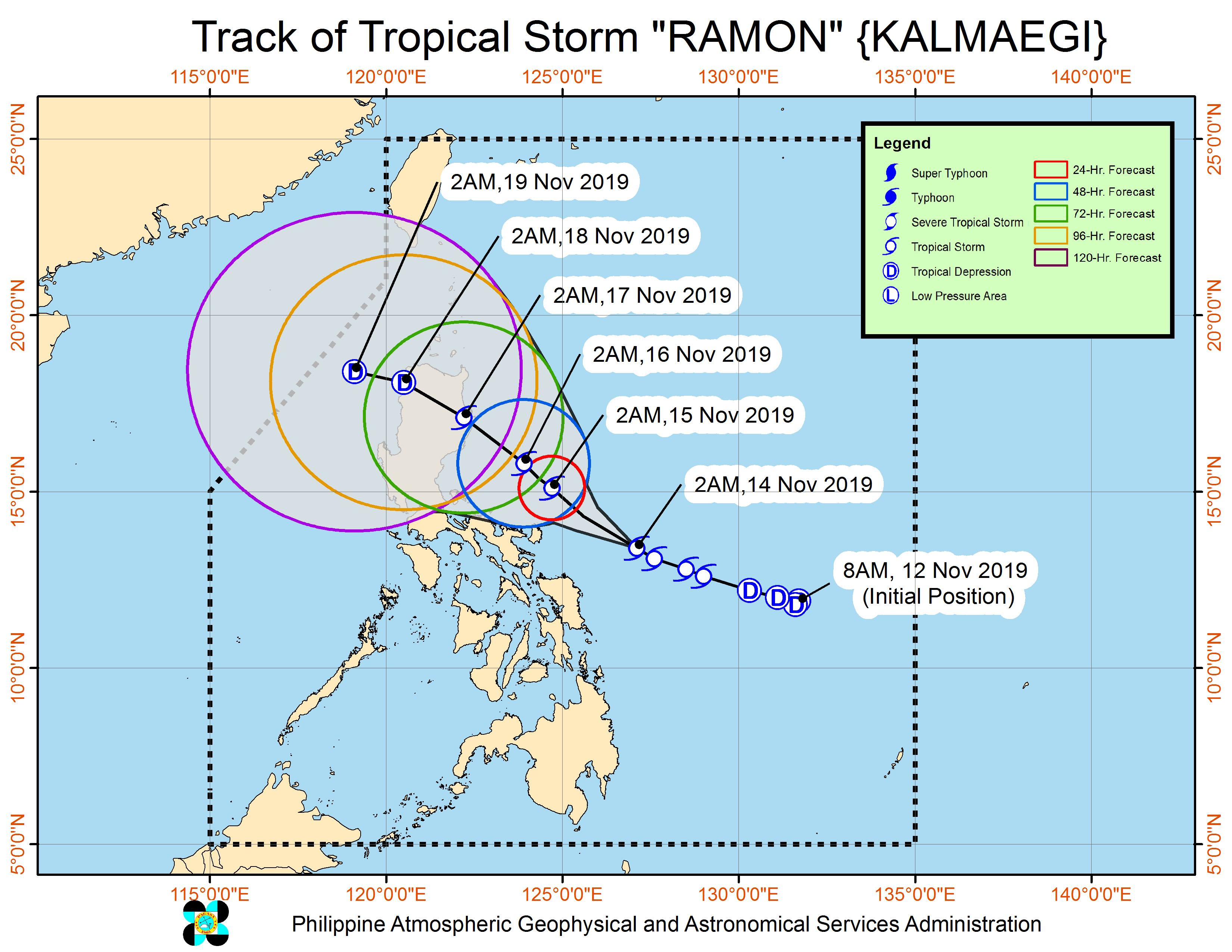 Forecast track of Tropical Storm Ramon (Kalmaegi) as of November 14, 2019, 5 am. Image from PAGASA